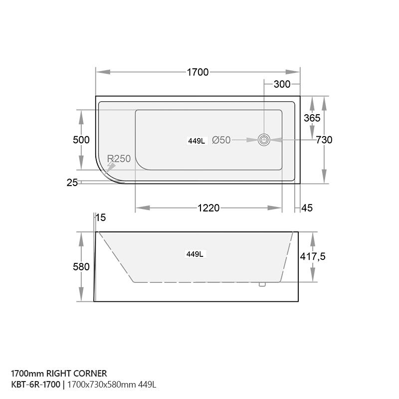Miranda Corner Back To Wall Freestanding Lucite 174 Acrylic Bath Tub 1500mm 1700mm Homegear