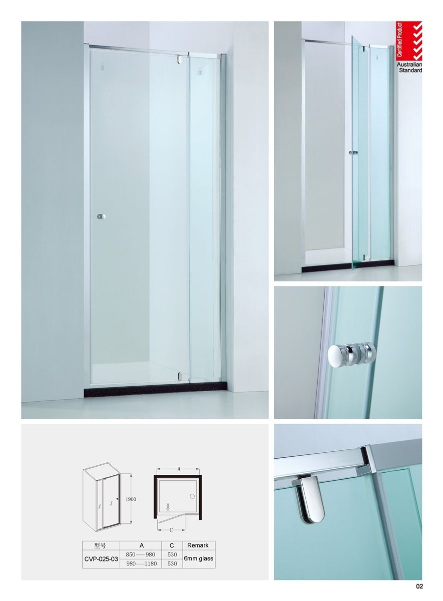 850-980mm Adjustable Wall to Wall Semi-Frameless Pivot Glass Panel ...