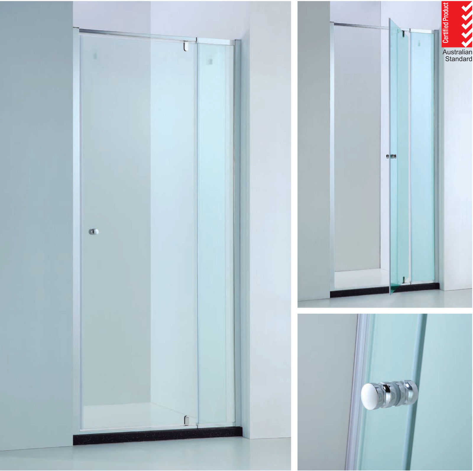 850 980mm Adjustable Wall To Wall Semi Frameless Pivot Glass Panel Shower Screen