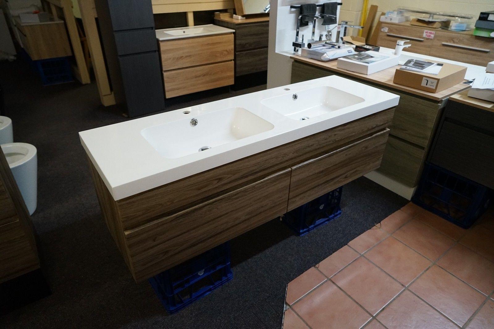 Thermofoil bathroom vanities - Asti 1500mm Walnut Oak Timber Wood Grain Pvc