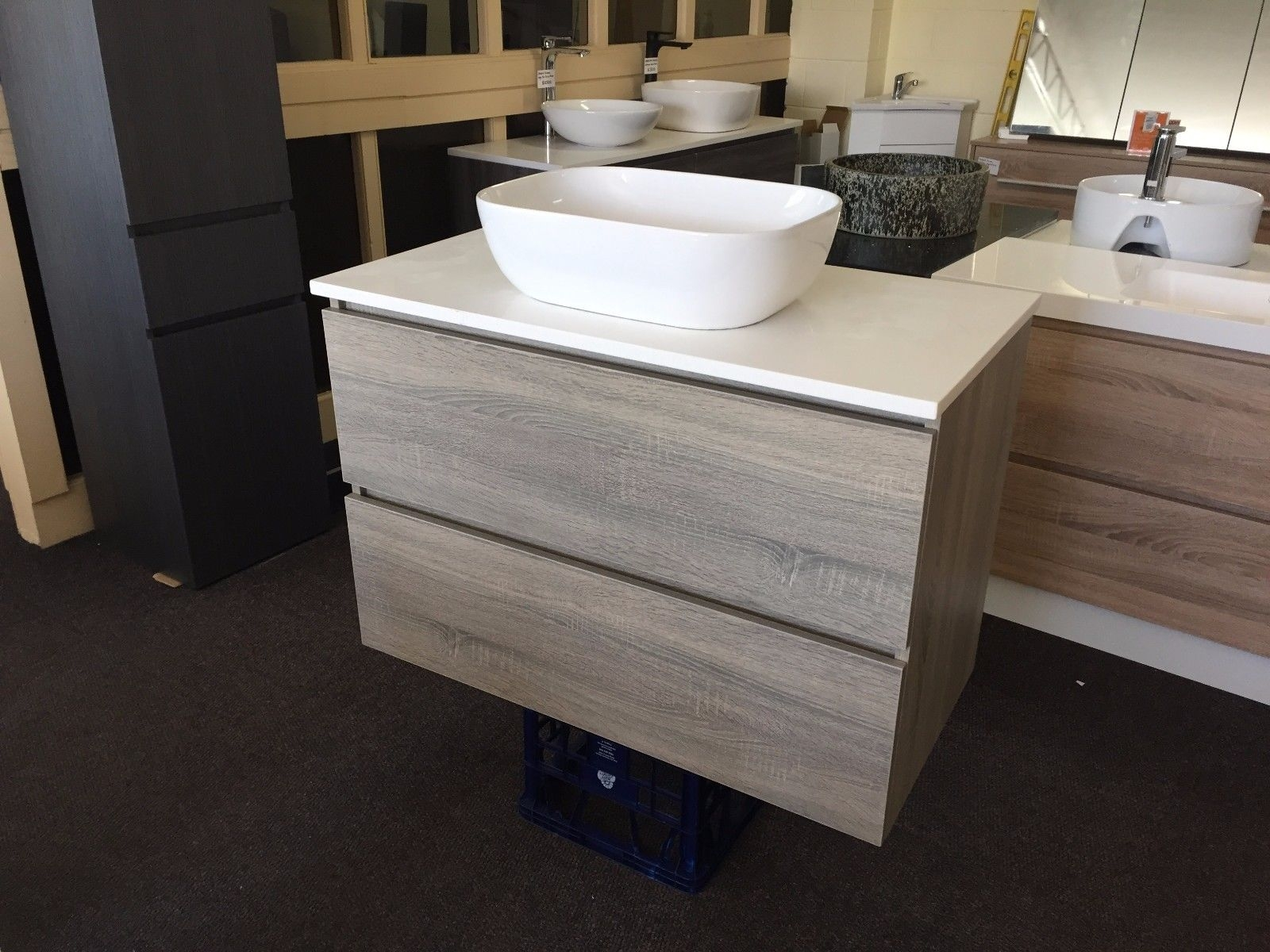 Excellent  1500mm White Oak Timber Wood Grain Floor Standing Bathroom Vanity