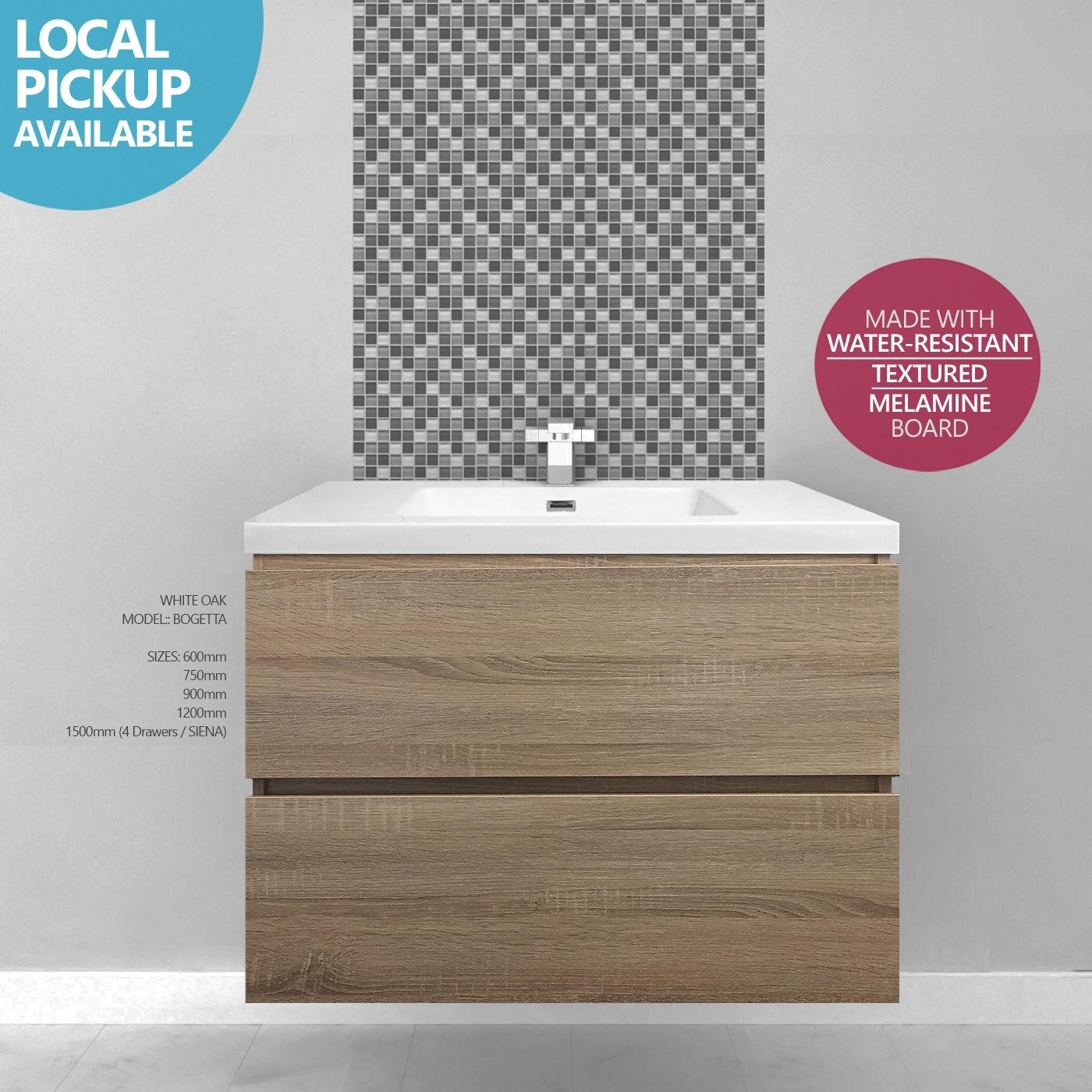 Bogetta 900mm Plywood Or Standard White Oak Timber Wood Grain Wall Hung Freestanding Bathroom Vanity