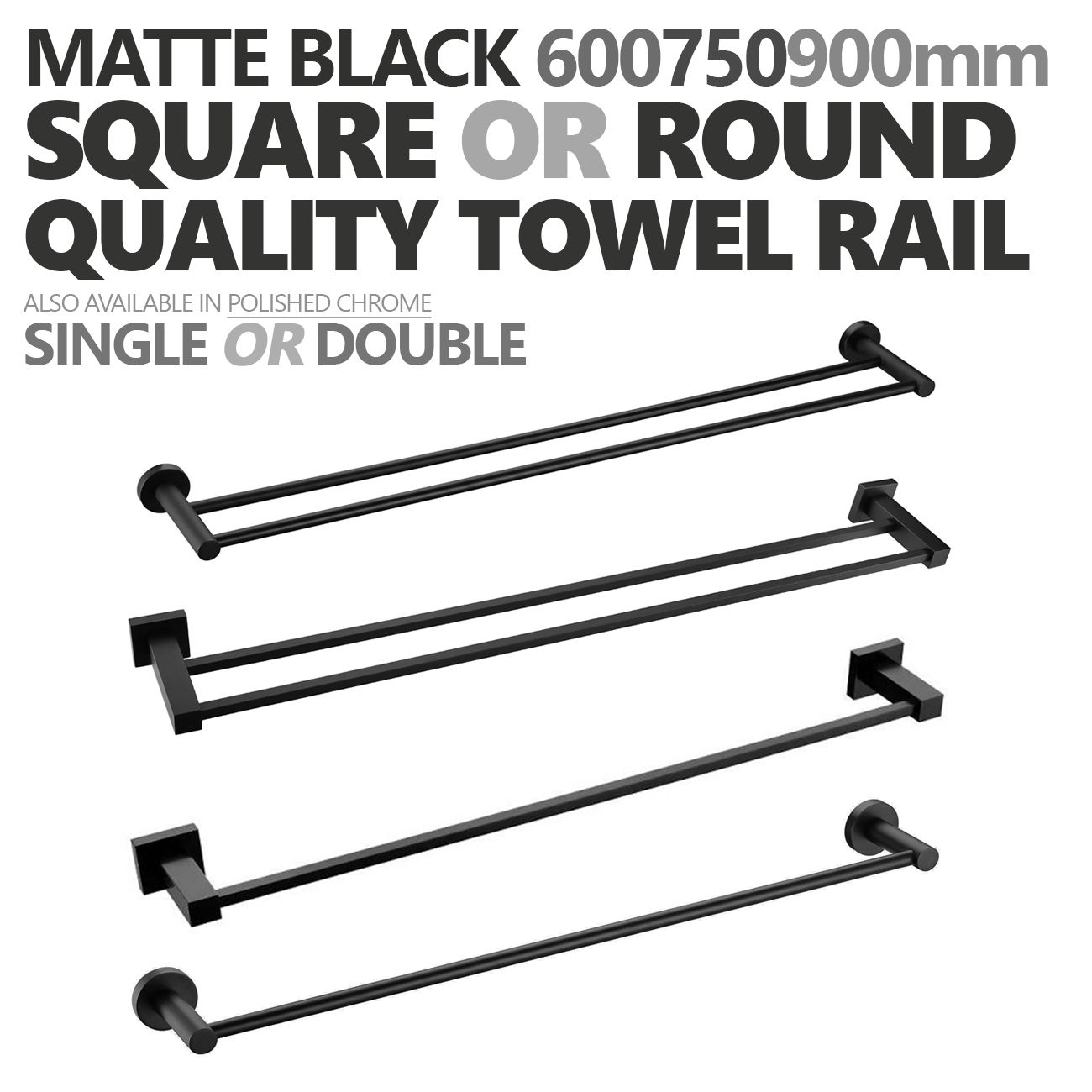Luxe Mirage Round Or Square Matte Black Bathroom Towel Rail Single Double