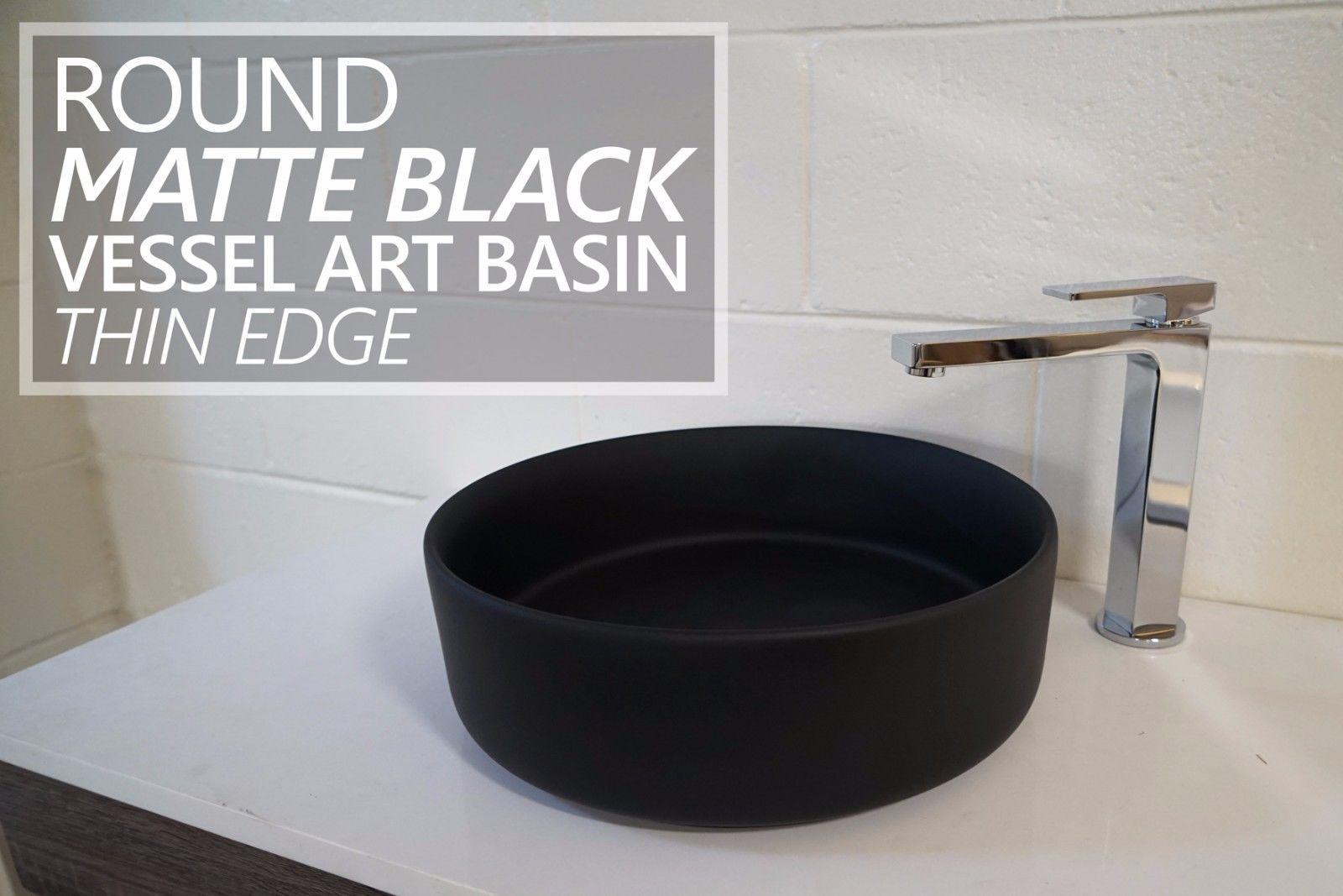 Round MATTE BLACK Thin Edge Vessel Counter Top