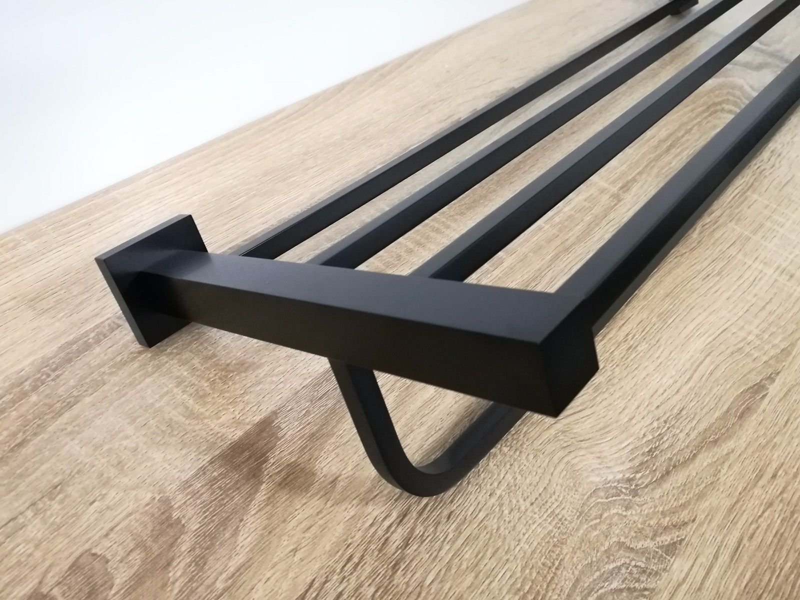 Luxe Square Matte Black 2 In 1 Towel Rack Amp Shelf