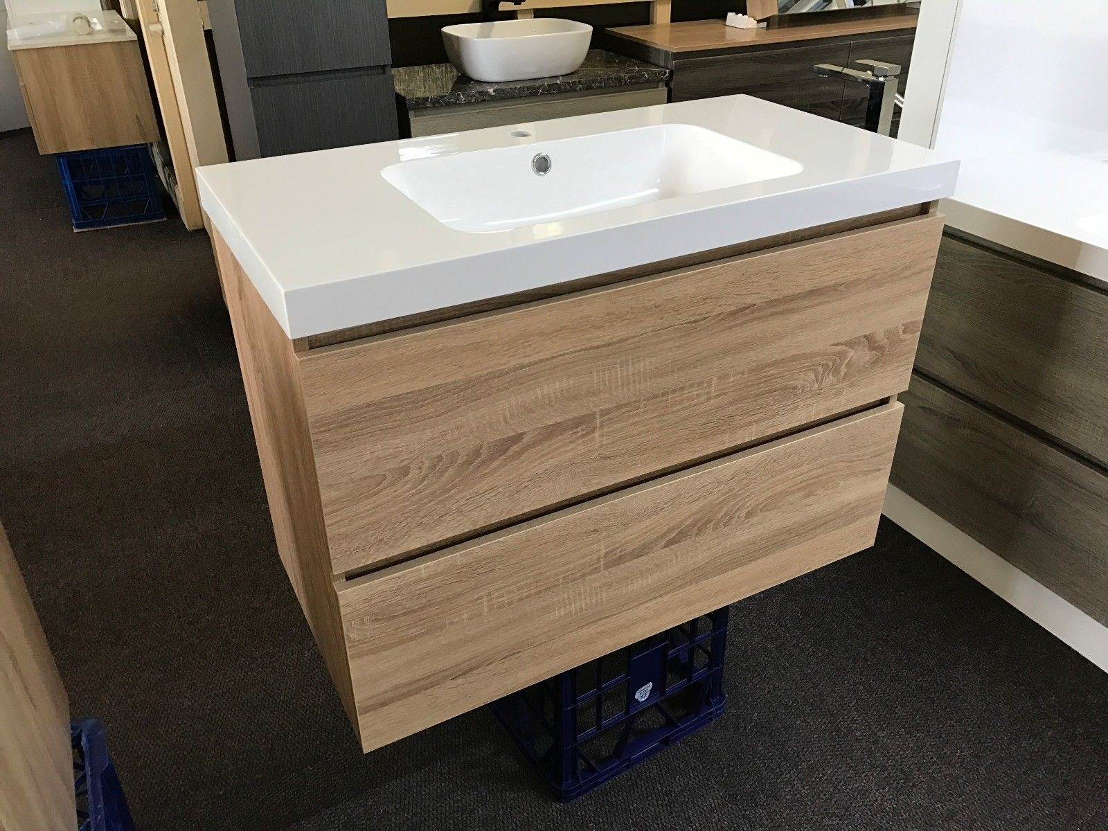 Astra Slimline 900mm White Oak Timber Wood Grain Narrow Bathroom Vanity 400mm Homegear