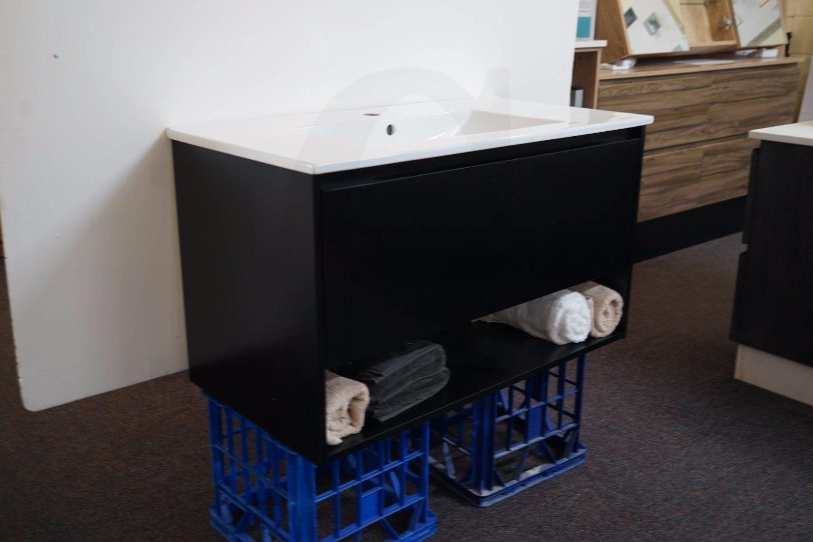 EDEN   900mm Matte Black Polyurethane Wall Hung Bathroom Vanity with ...