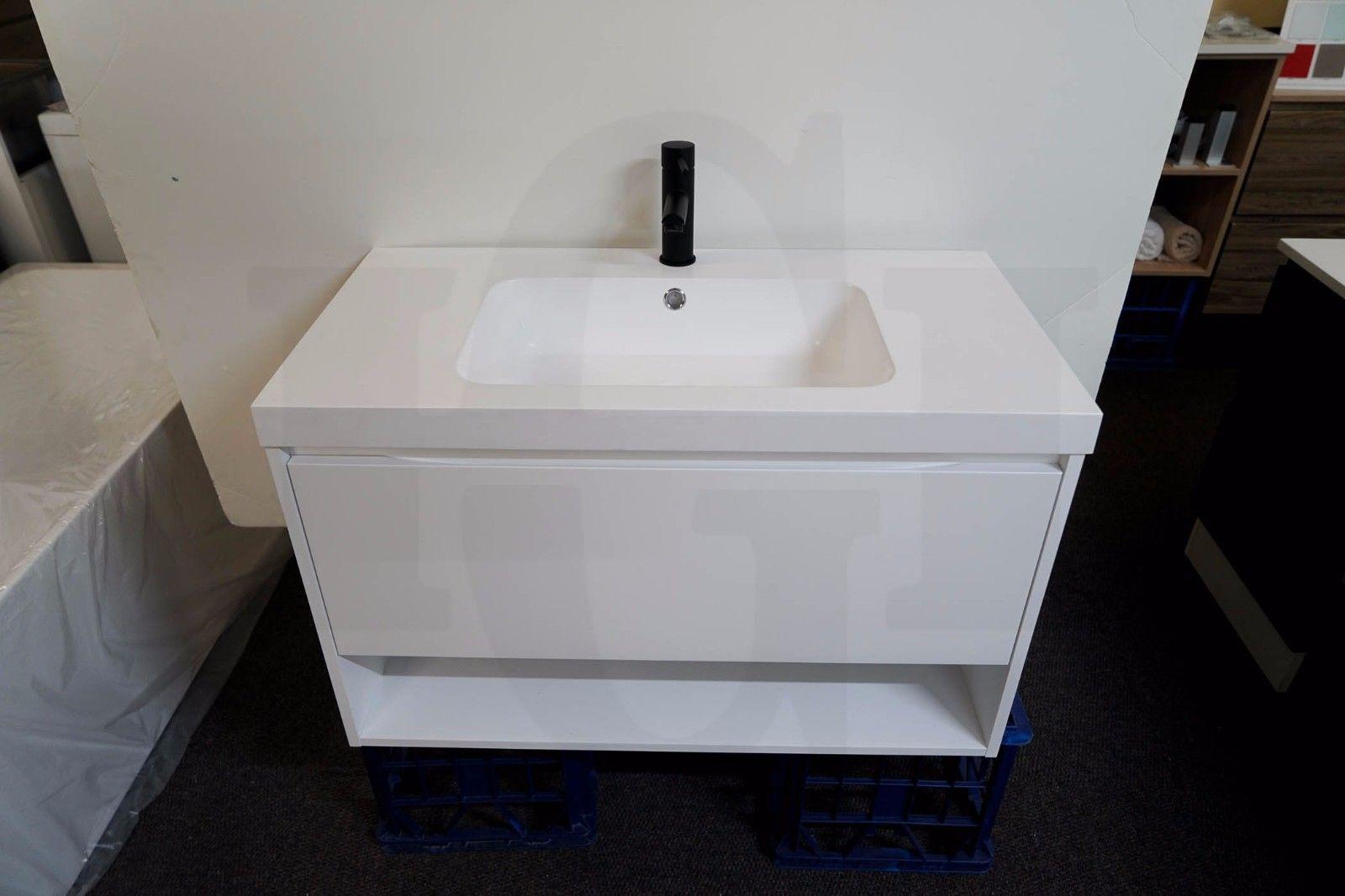 Eden 900mm Matte White Polyurethane Wall Hung Bathroom