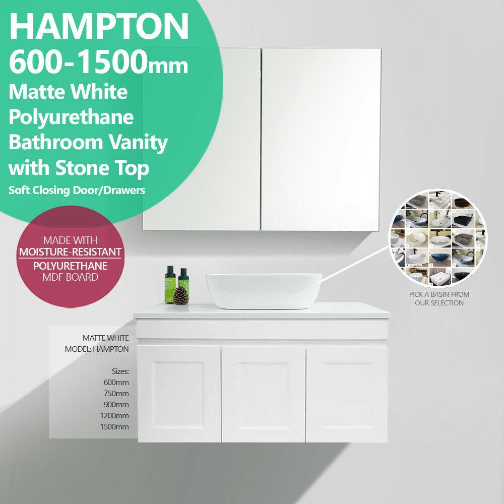 Hampton 600mm 1500mm Matte White Polyurethane Wall Hung Vanity With Stone Top Shaker Style Homegear Australia