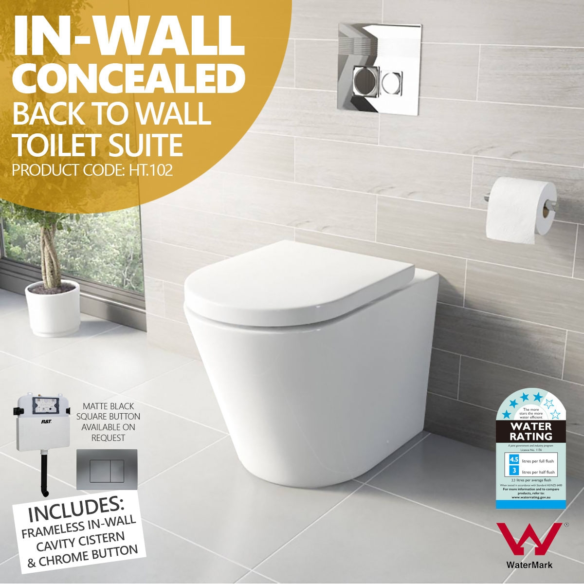102 Round In Wall Concealed Ceramic Back To Wall Toilet