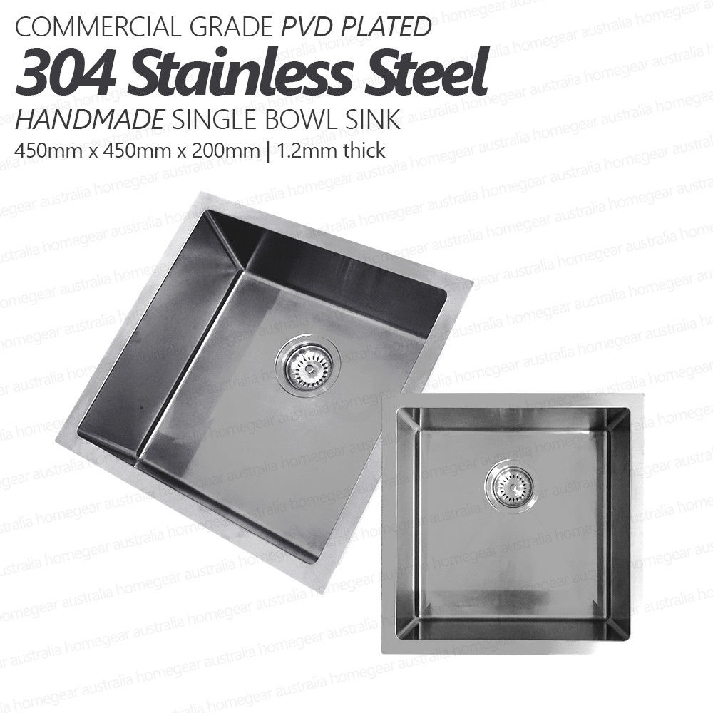 450mm Square Handmade 304 Grade Stainless Steel Single