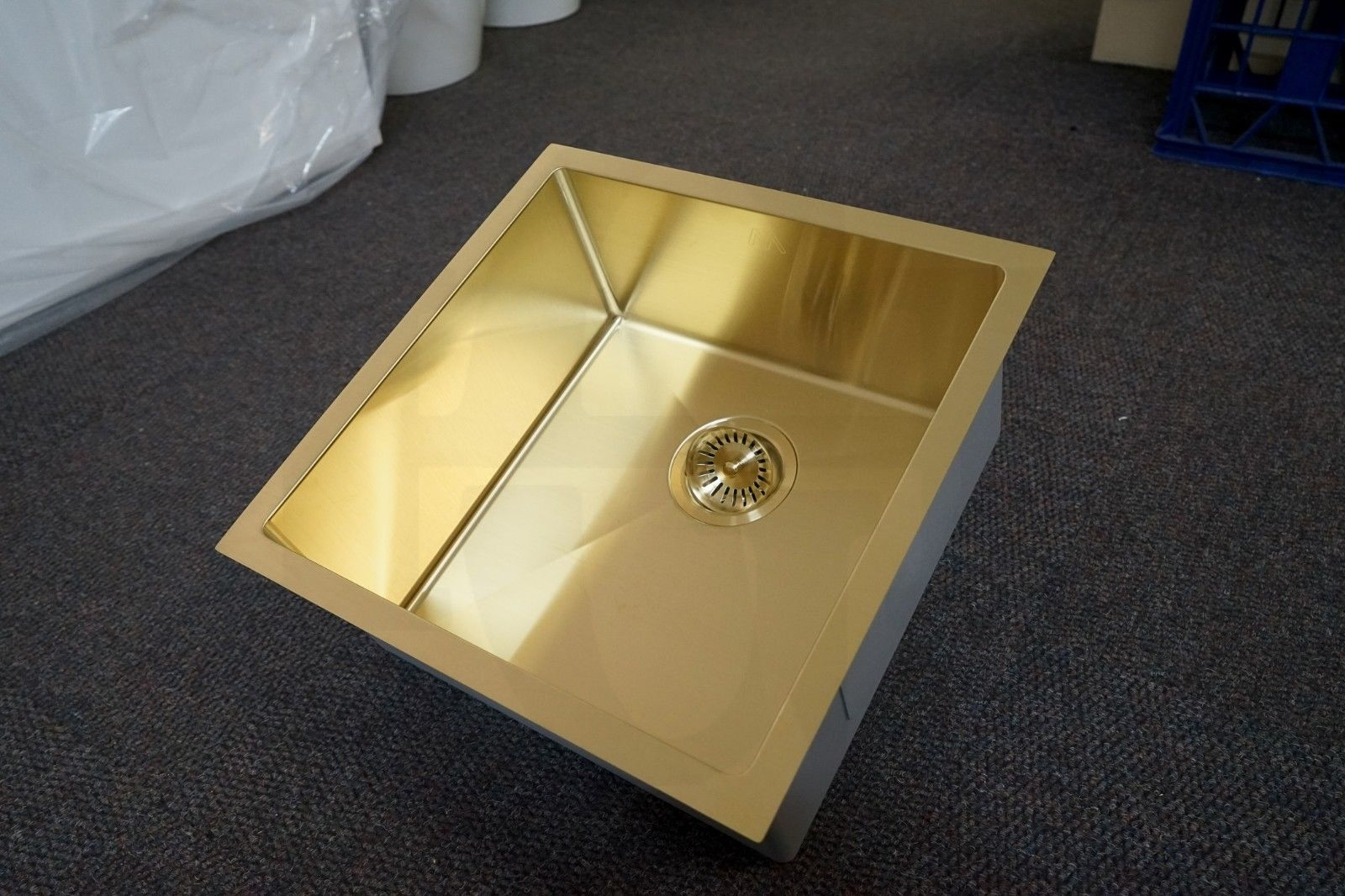 Quad 450mm Square Light Gold Handmade Stainless Steel Sink Premium Pvd Homegear Australia