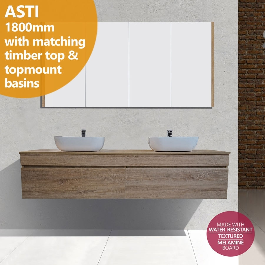 Asti 1800mm white oak timber wood grain wall hung double for Bathroom cabinets 1800mm