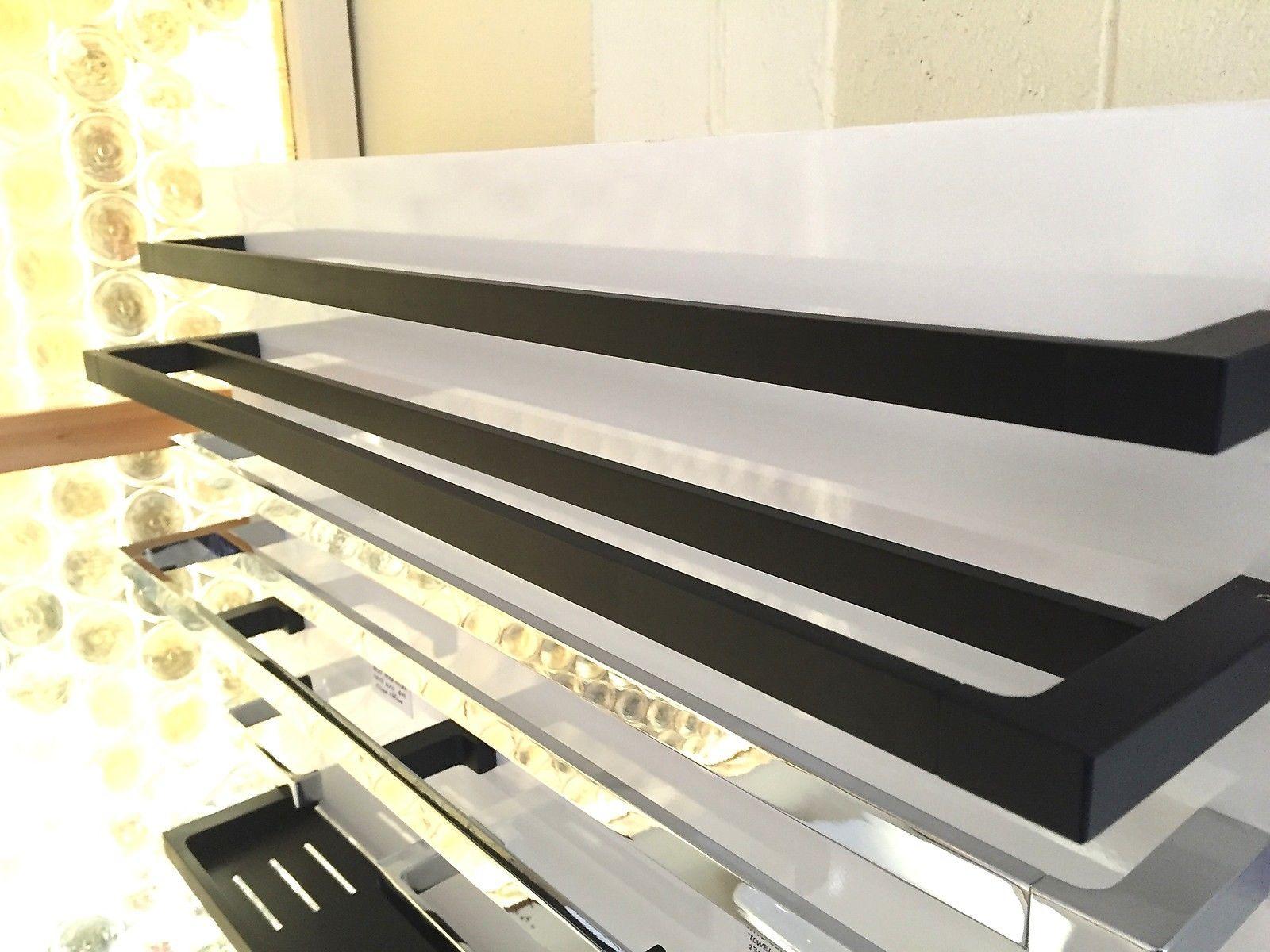 Ettore 600mm Square Matte Black Bathroom Towel Rail