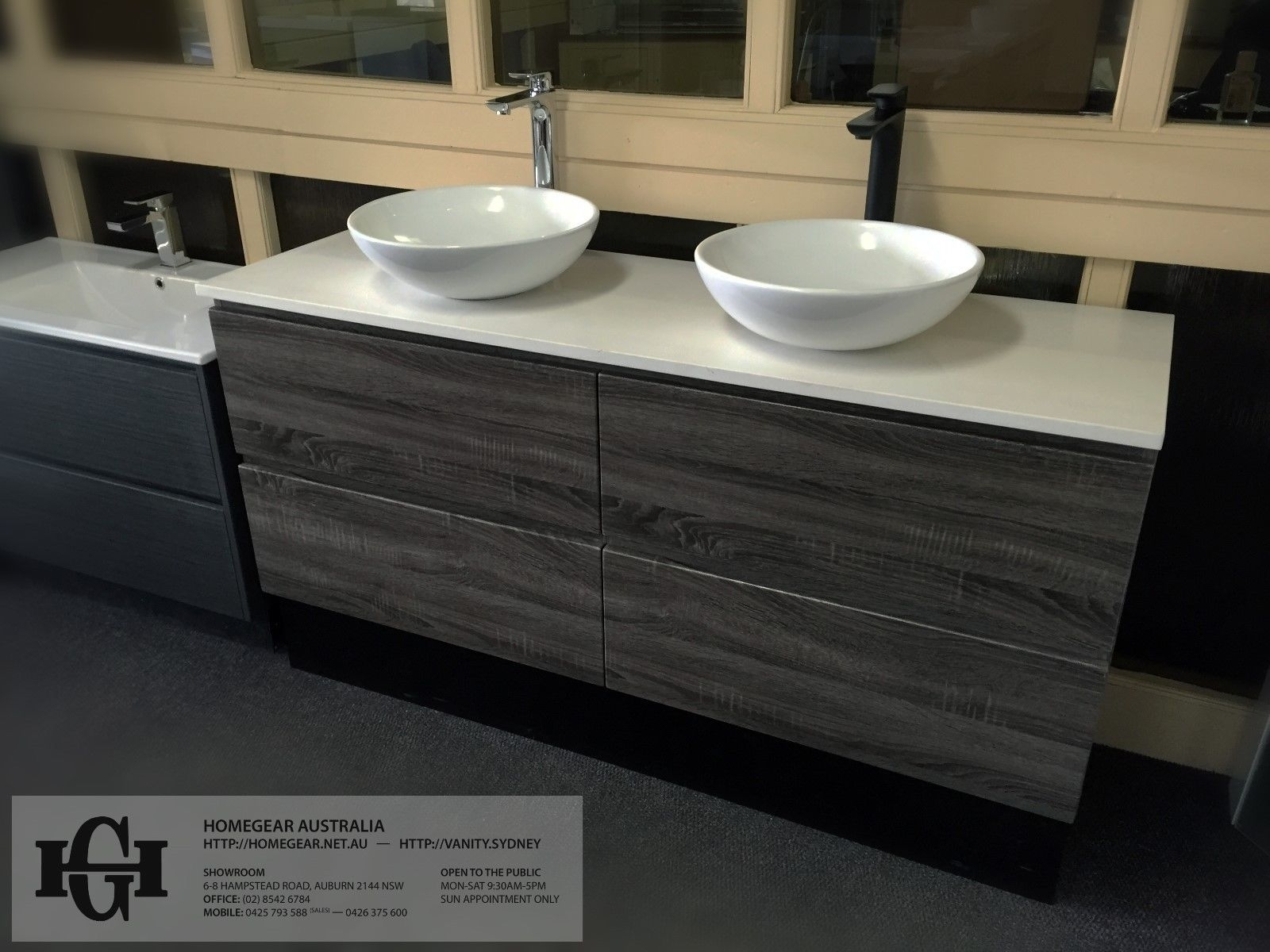 Thermofoil bathroom vanities - Siena 1500mm Oak Grey Timber Wood Grain Pvc