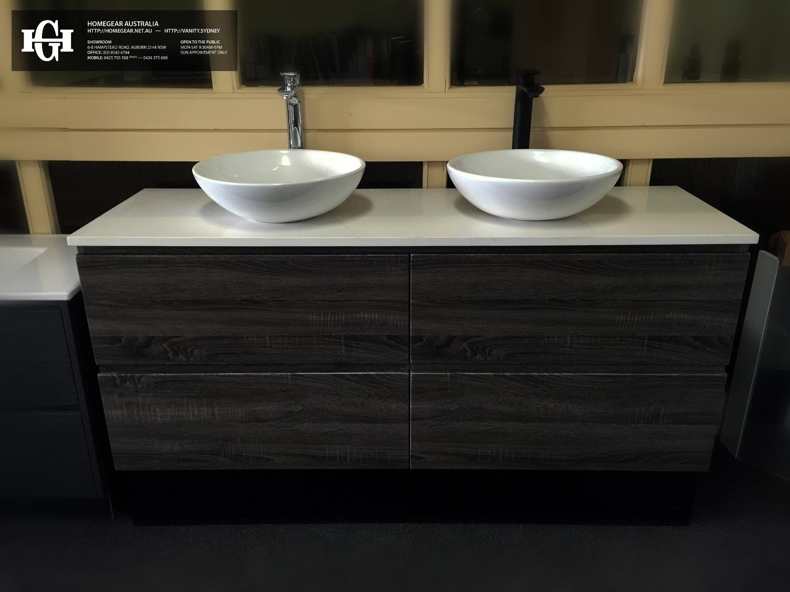 Siena 1500mm Sonoma Oak Grey Pvc Thermal Foil Timber Wood Grain Double Vanity With Stone Top