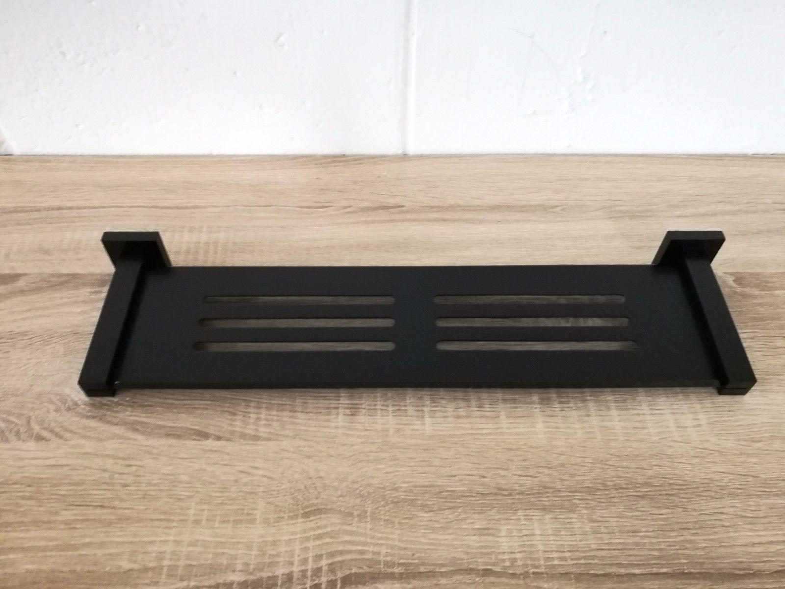 Square 460mm Matte Black Br Shower Trayshelfrack Caddy