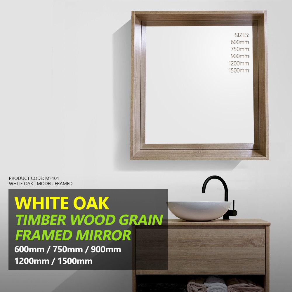 FRAMED | White Oak Timber Wood Grain Wall Mounted Framed Mirror ...
