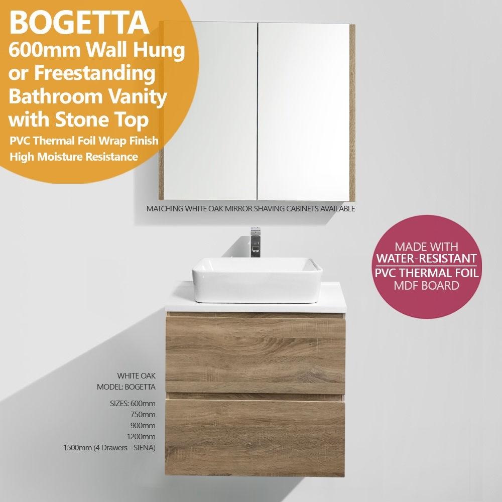 BOGETTA   600mm White Oak PVC Thermal Foil Timber Wood Grain Vanity ...