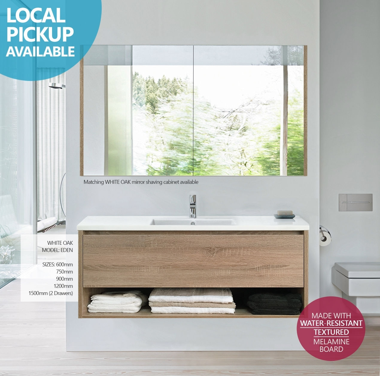 EDEN | 1200mm White Oak Textured Timber Wood Grain Wall Hung Vanity ...