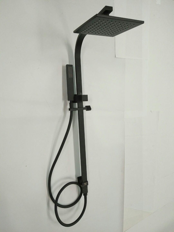premium electroplated  square matte black    shower rail set  hand shower homegear
