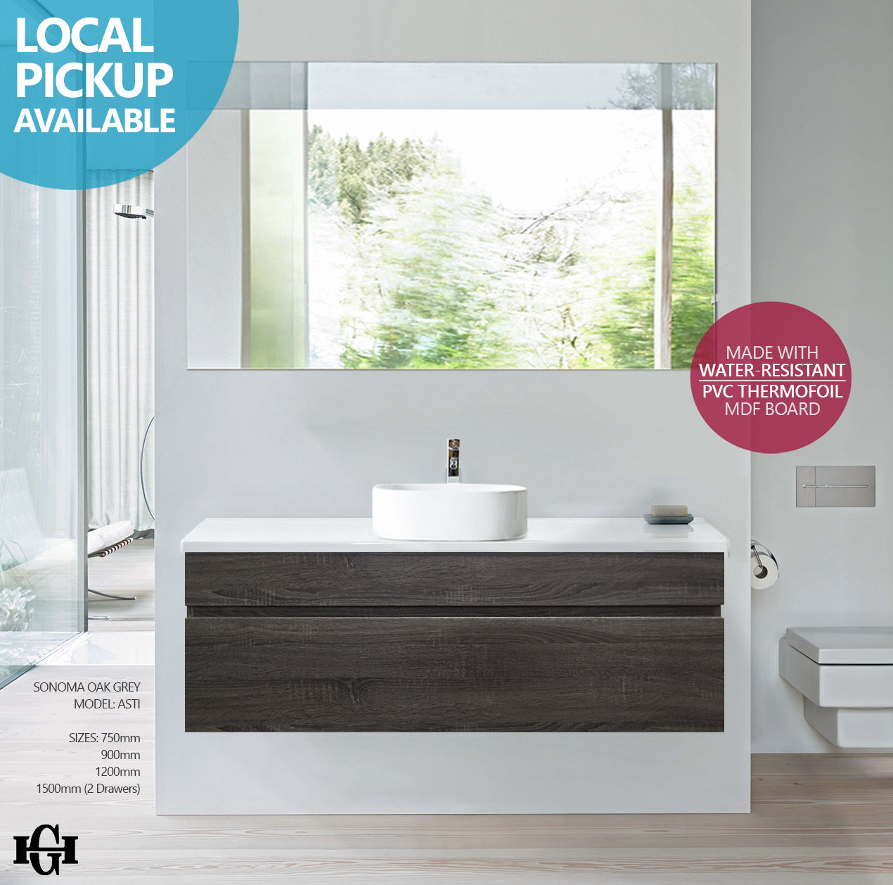 on sale 2759d 74c74 ASTI | 1200mm Sonoma Oak Grey PVC Thermal Foil Timber Wood Grain Wall Hung  Vanity with Stone Top