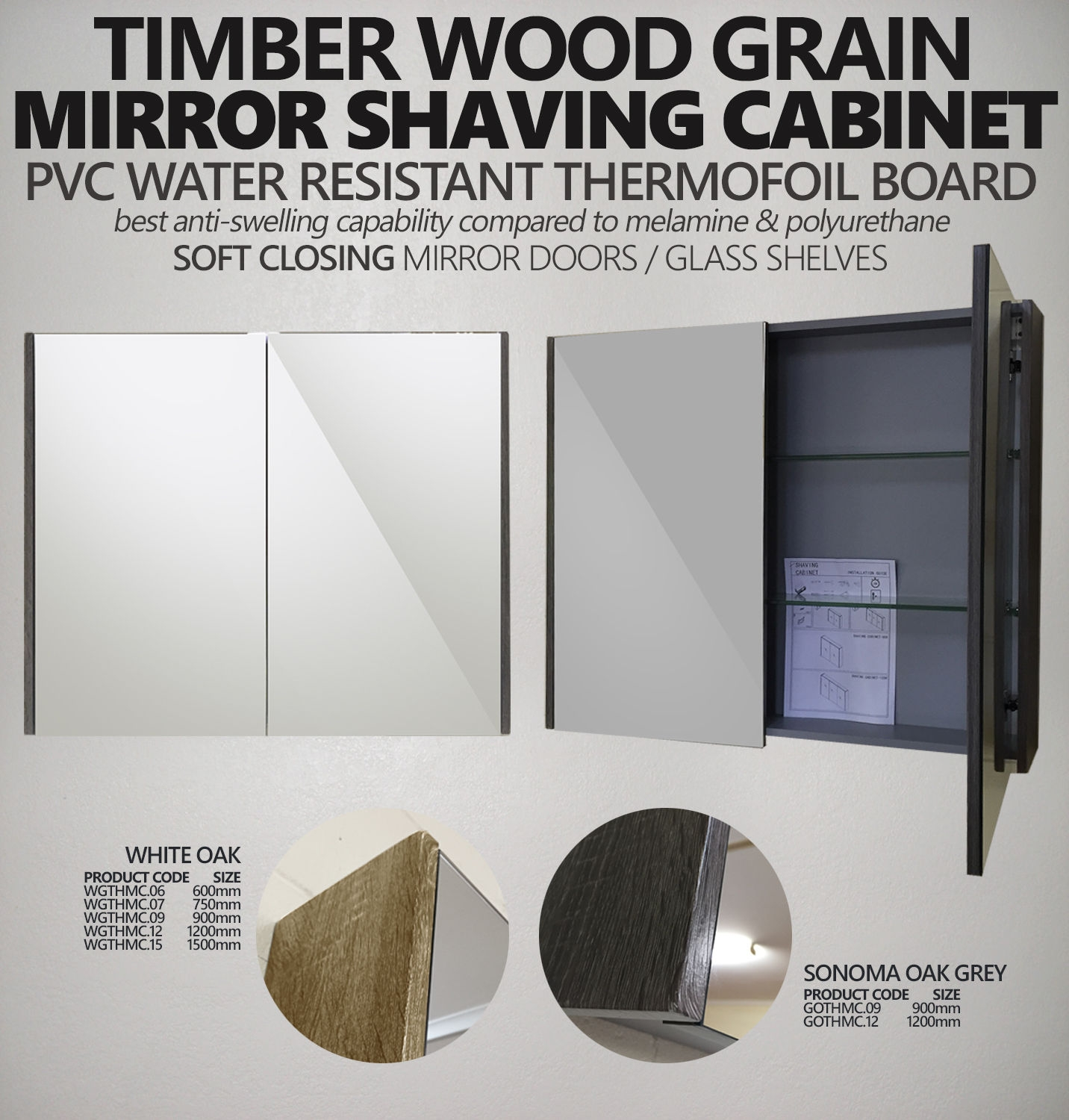 SHAVE   PVC Thermal Foil Mirror Shaving Cabinet with Timber Wood ...