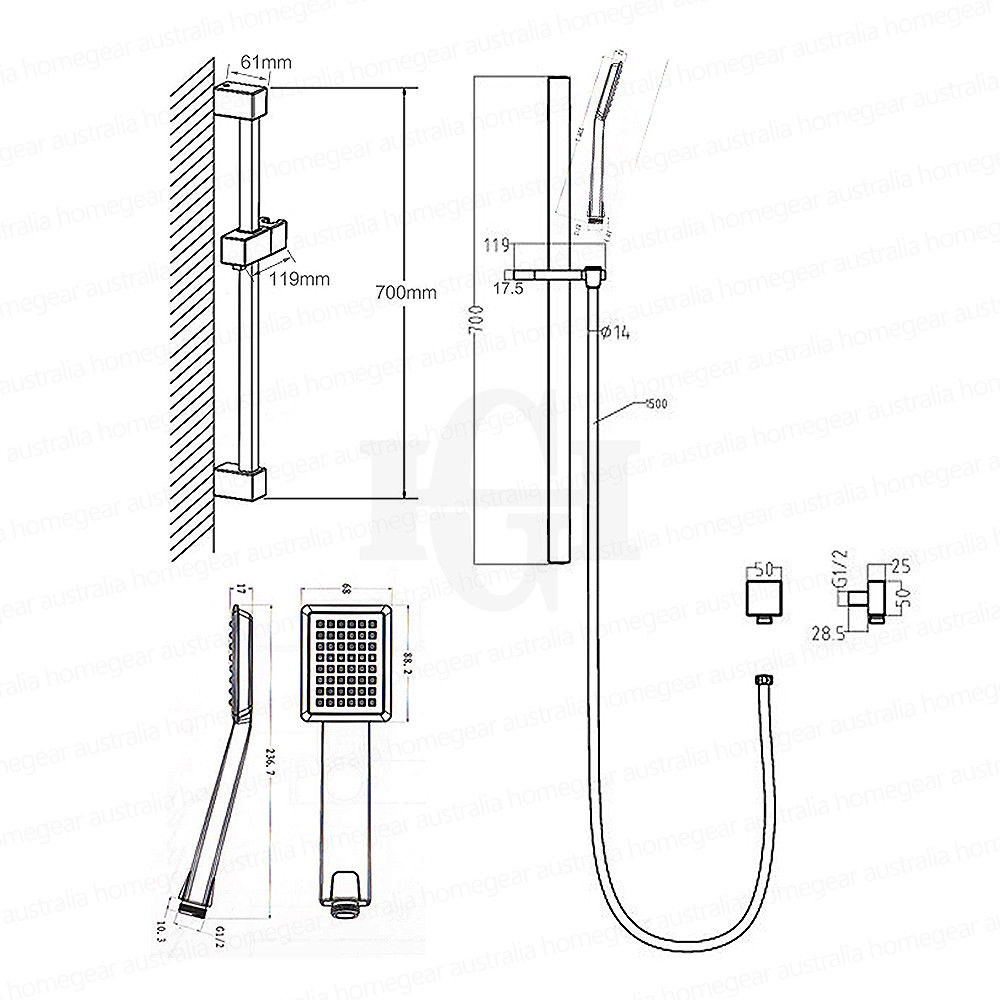 CHROMIUM | Square Polished Chrome Handheld Shower Rail Set ...