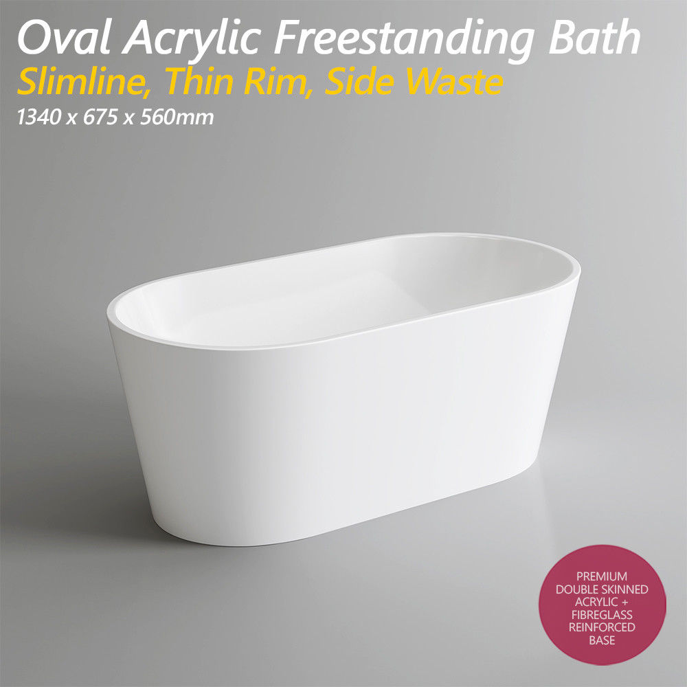 1340mm Oval Freestanding Acrylic Bath Tub with Side Waste ...
