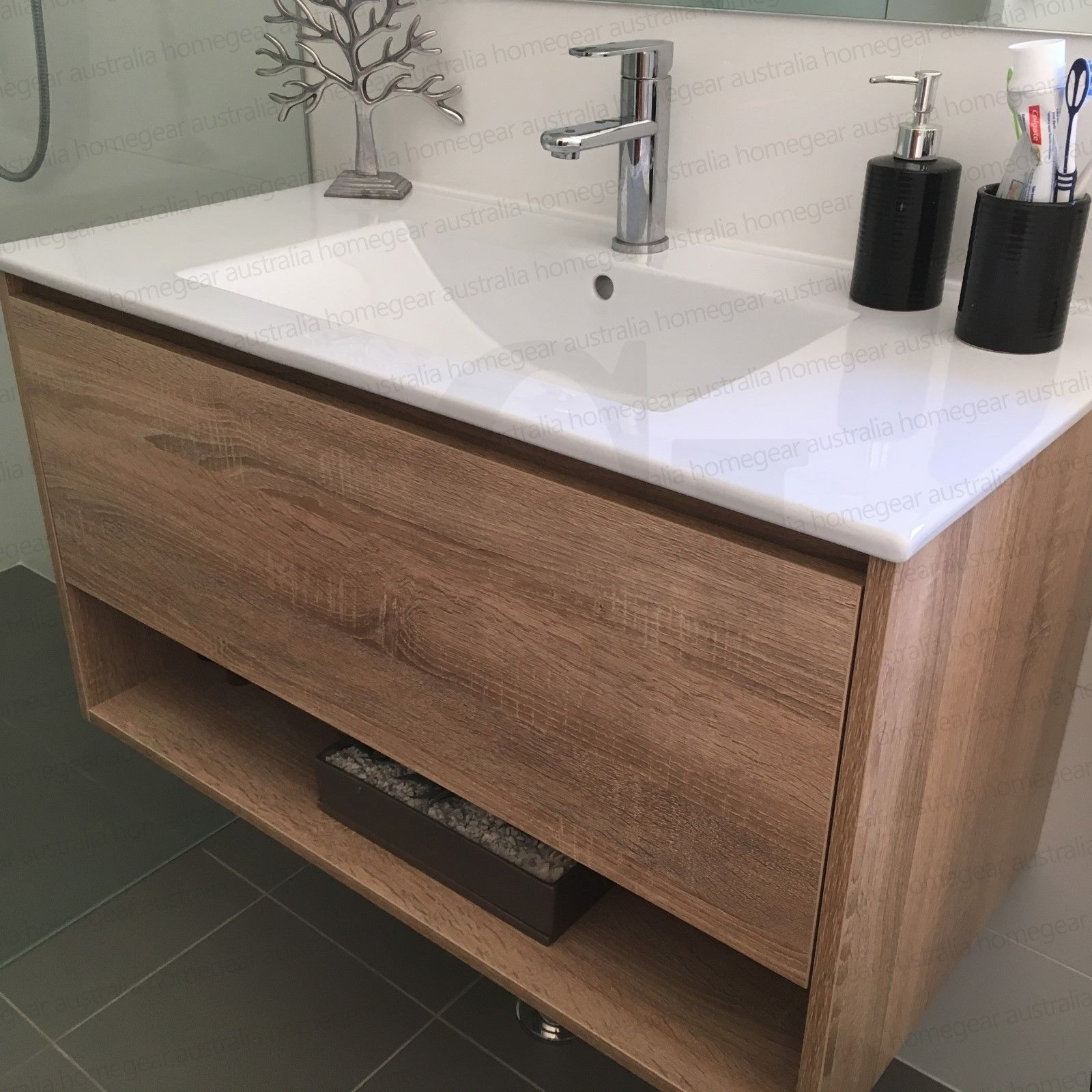 EDEN | 750mm White Oak Textured Timber Wood Grain Bathroom Vanity ...