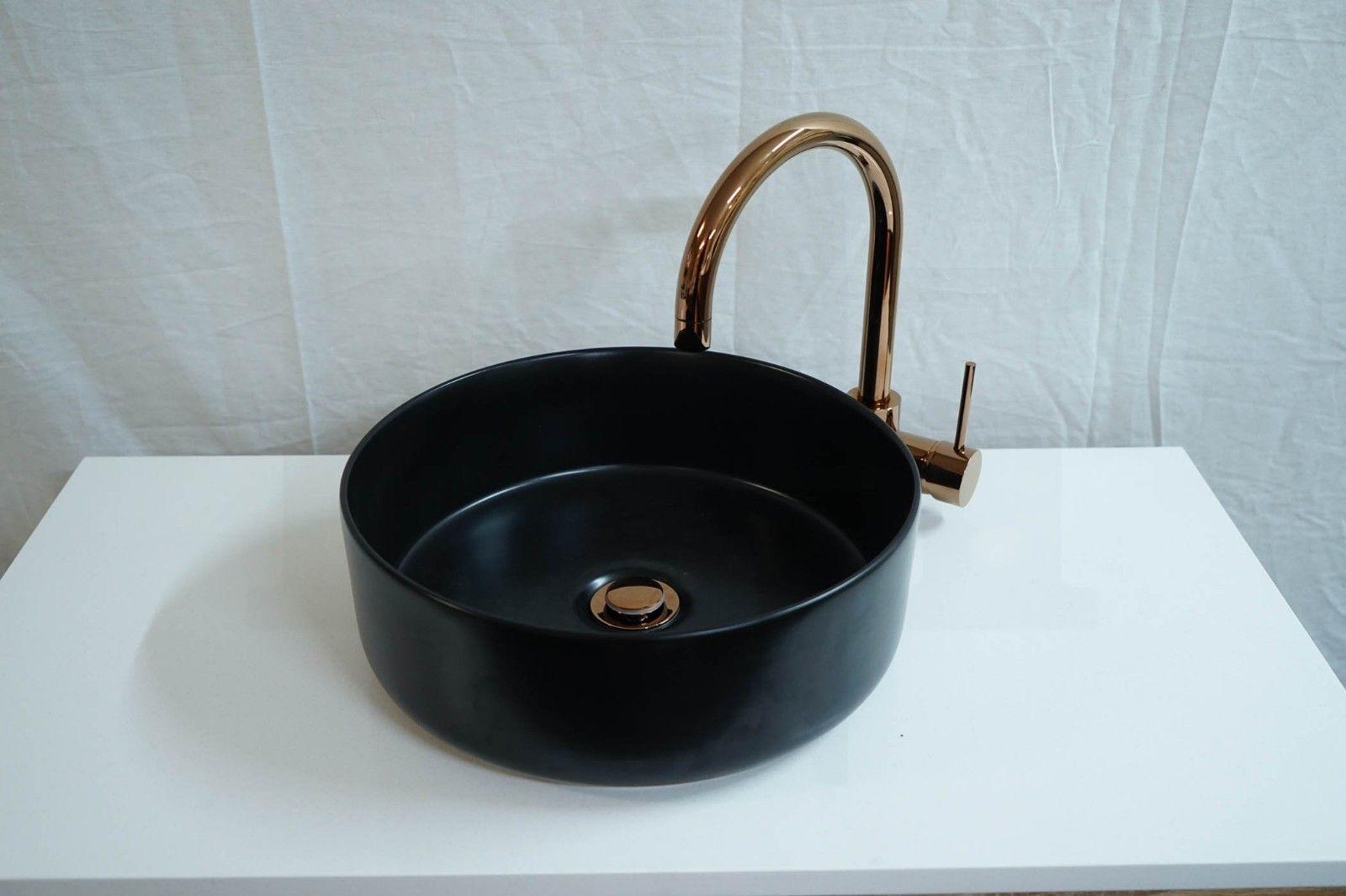 EVE Round Circular Matte Black Ceramic Above Counter