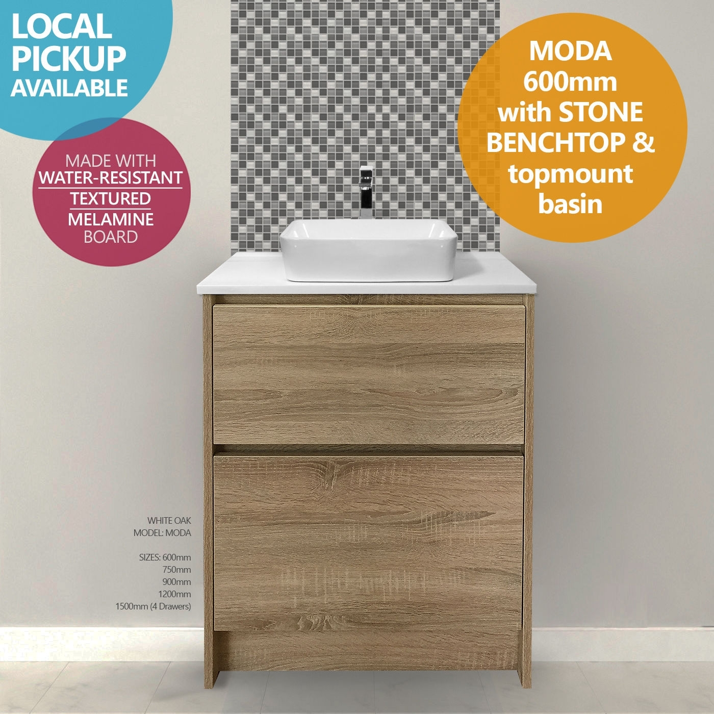 promo code 0c6dd a820e MODA | 600mm White Oak Timber Wood Grain Floor Standing Vanity with Stone  Top