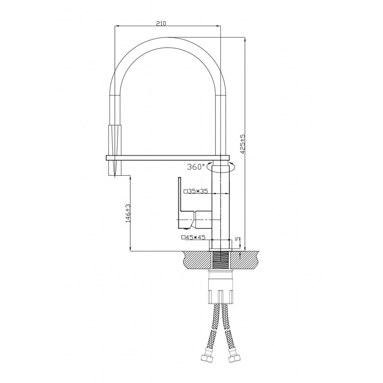 matte black gooseneck pull out hose square polished. Interior Design Ideas. Home Design Ideas
