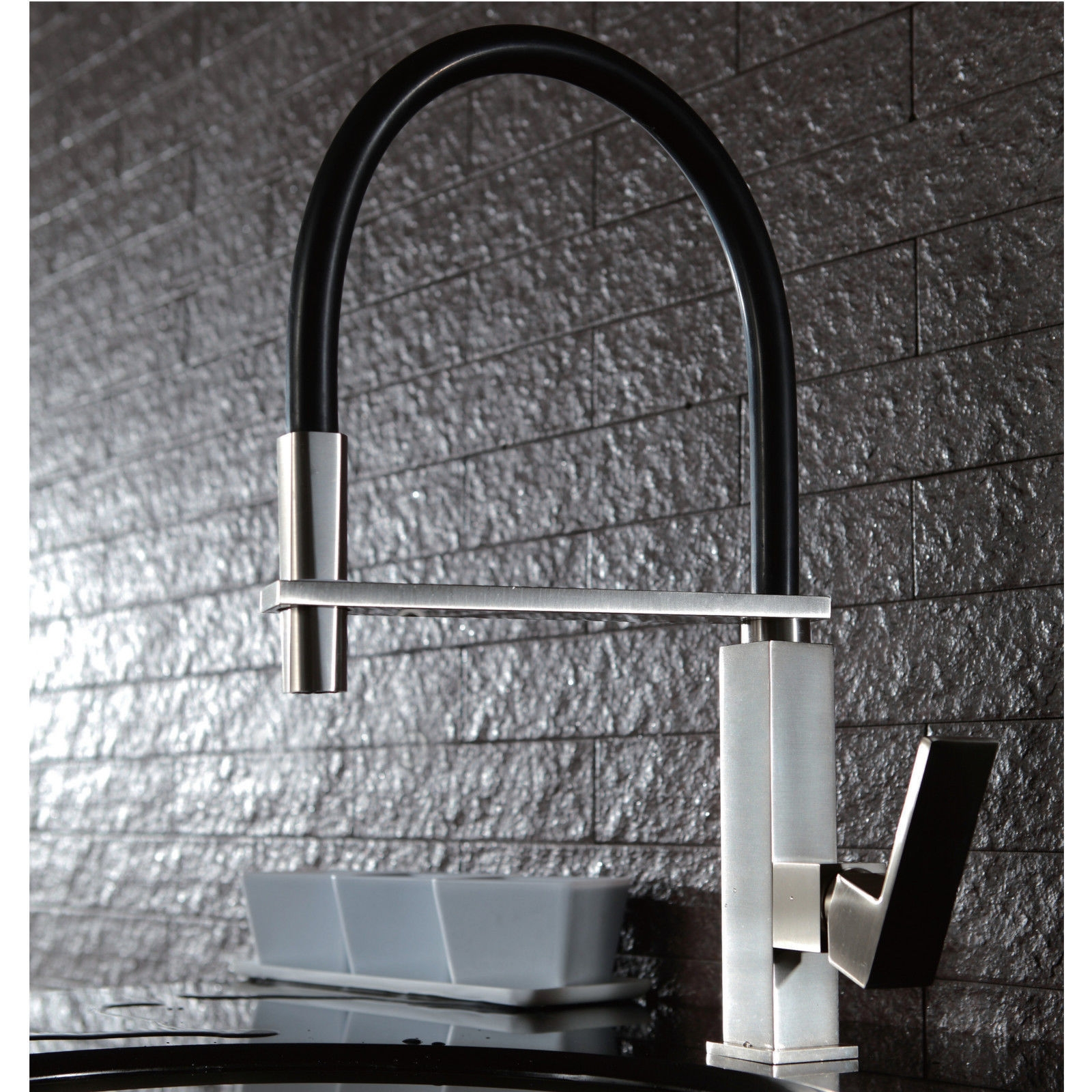 Square Polished Chrome Pull Out Kitchen Mixer with Matte Black PVC ...
