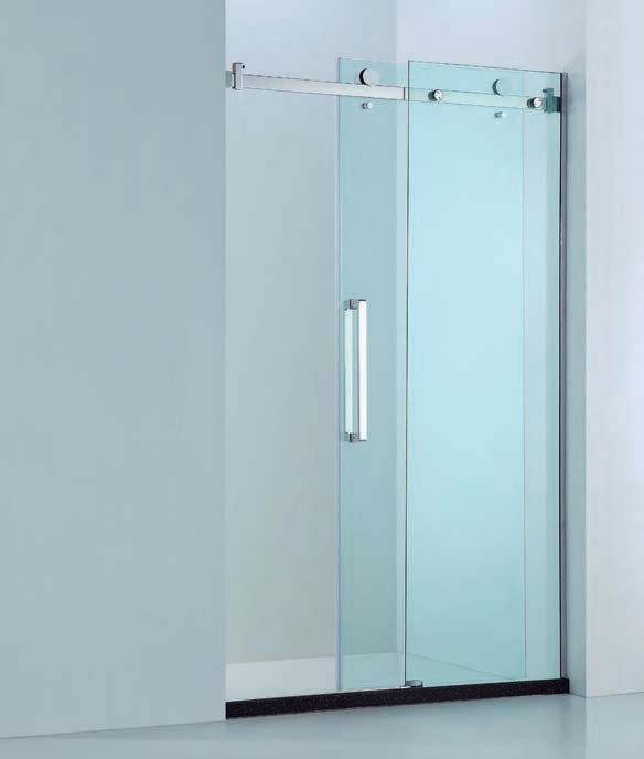 Premium Adjustable Wall to Wall Frameless 10mm Sliding Glass Shower ...