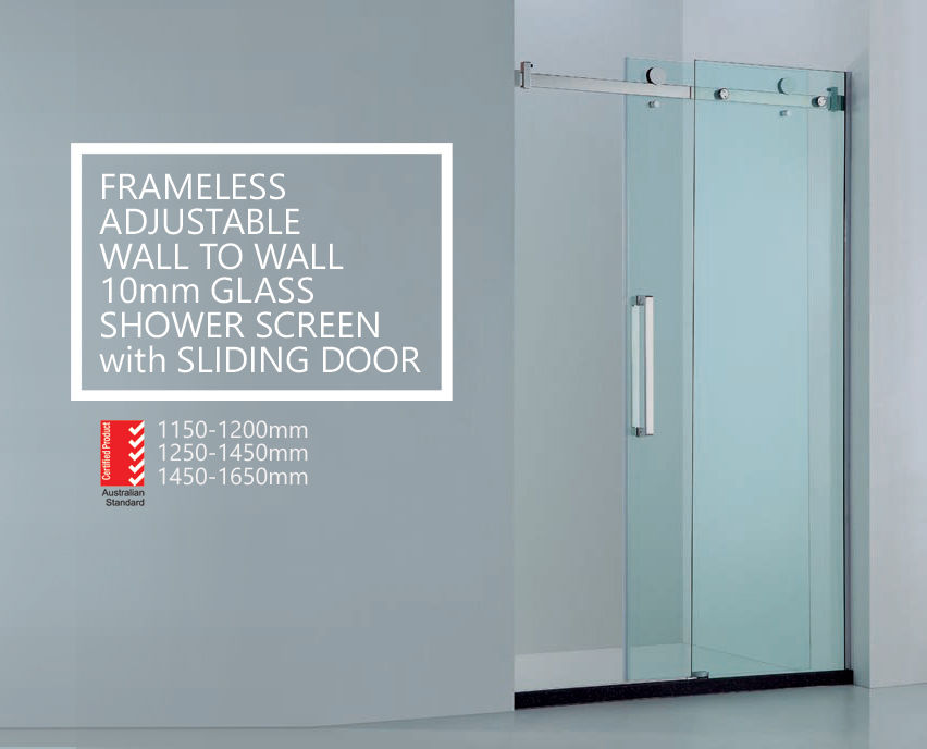 Premium Adjustable Wall To Wall Frameless 10mm Sliding Glass Shower