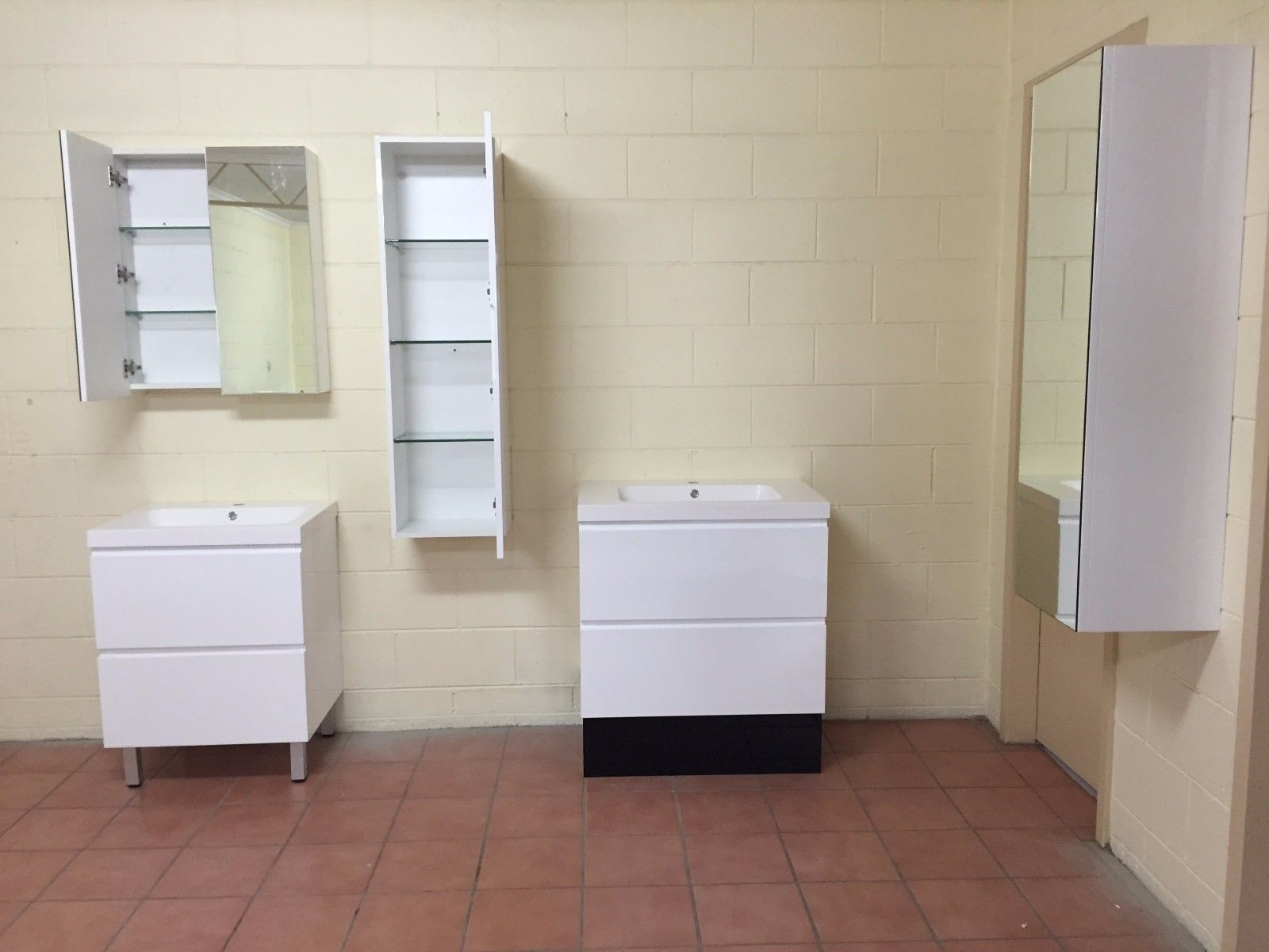 1200mm white gloss polyurethane wall hung mirror bathroom - Bathroom storage wall cabinets white ...