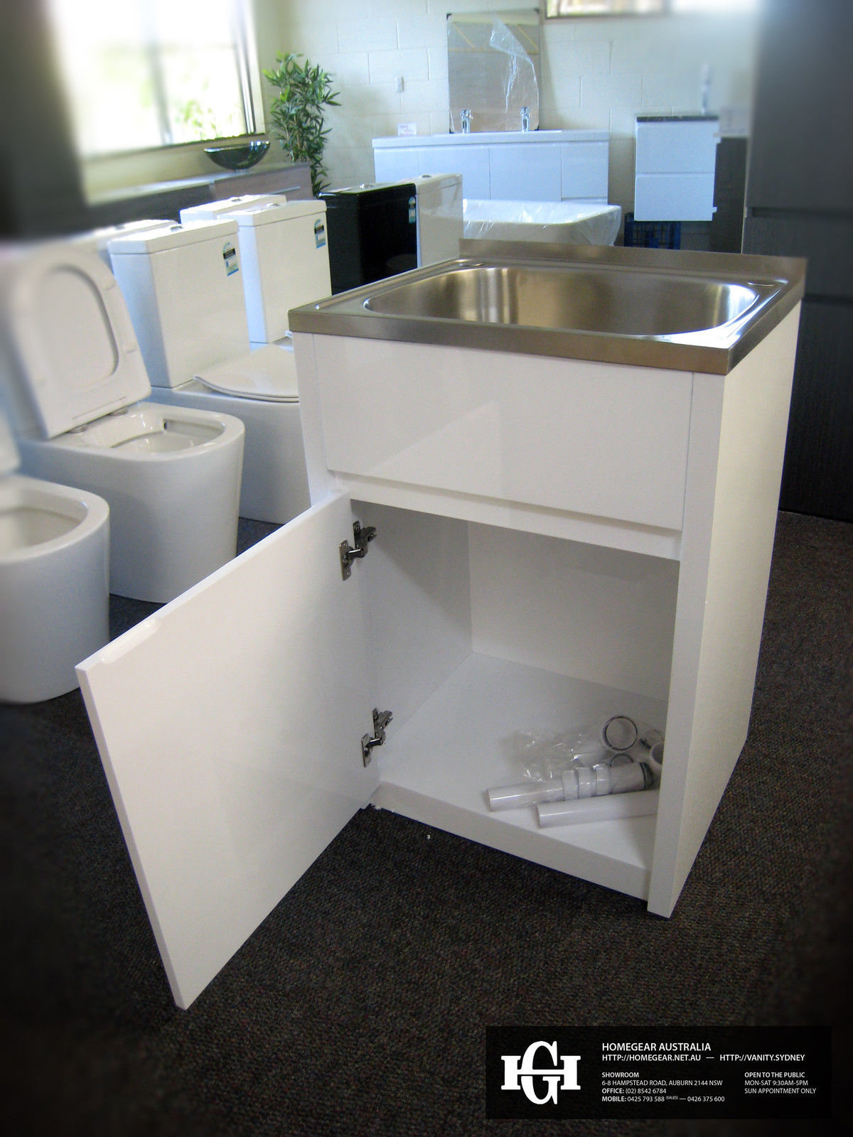 45l 600mm Stainless Steel Laundry Tub With White Gloss