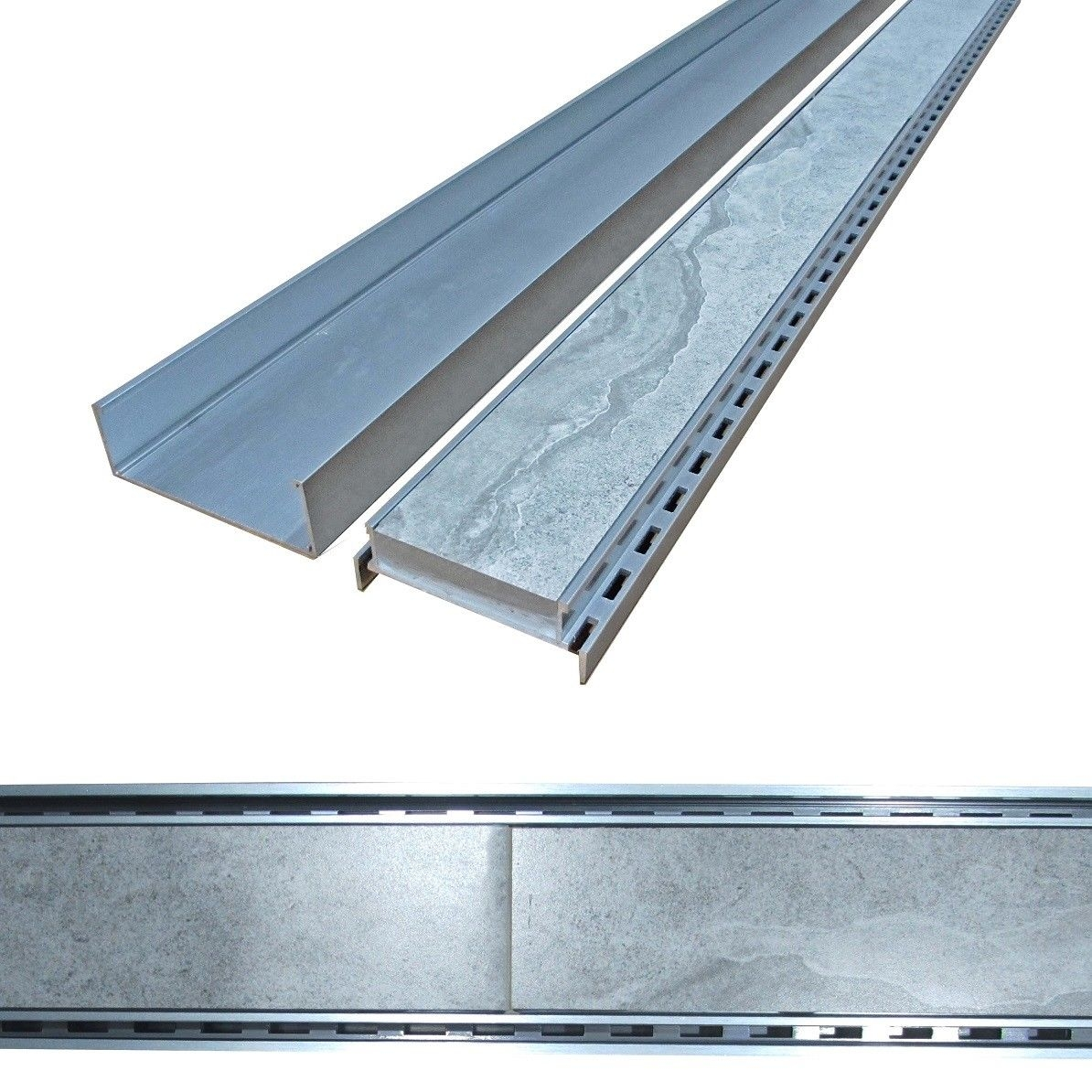 Lauxes Cellini 900mm Silver Slimline Floor Tile Insert