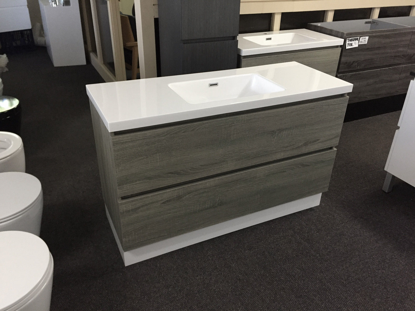 Bogetta 1200mm Light Grey Oak Timber Wood Grain Wall Hung Freestanding Vanity Homegear Australia
