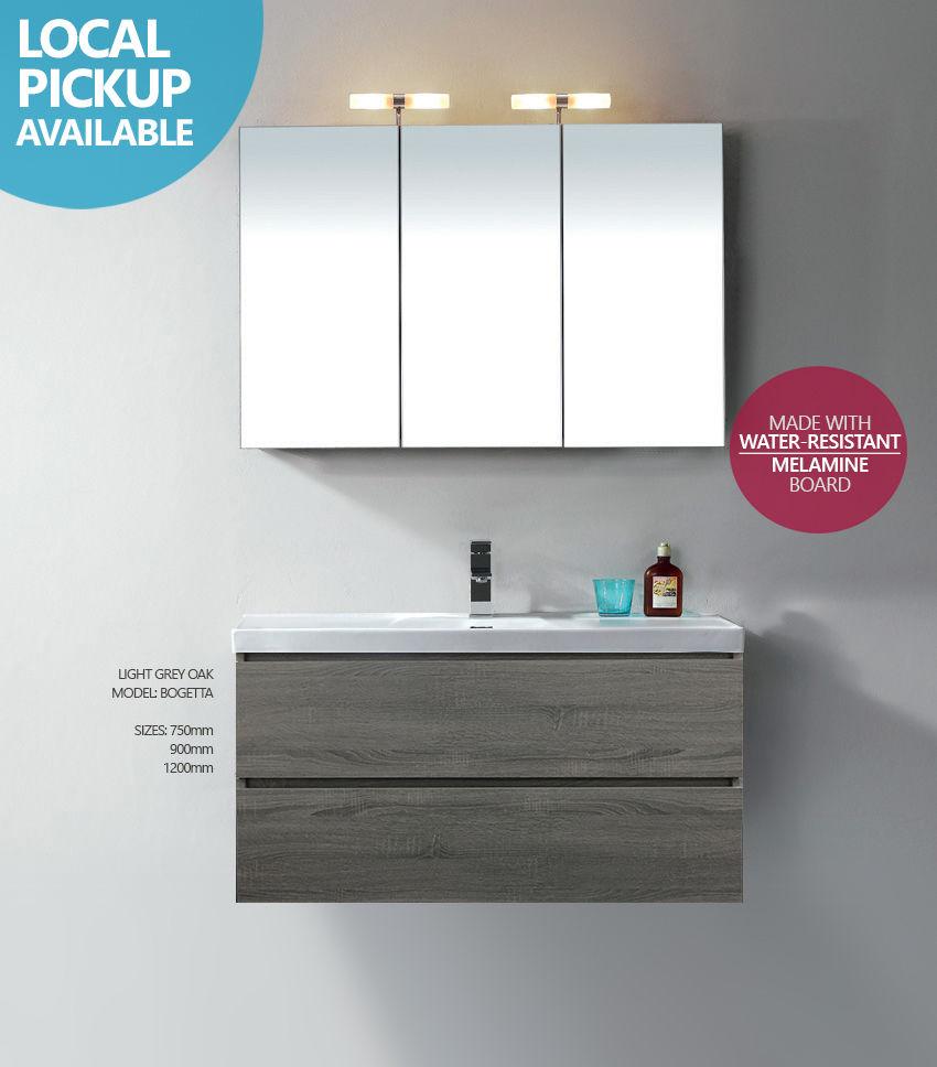 Bogetta 1200mm Light Grey Oak Timber Wood Grain Wall Hung Freestanding Vanity Homegear Australia