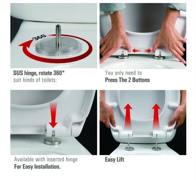 strong toilet seat hinges. Black Round D Shape Duraplast Heavy Duty Soft  Close Quick Release