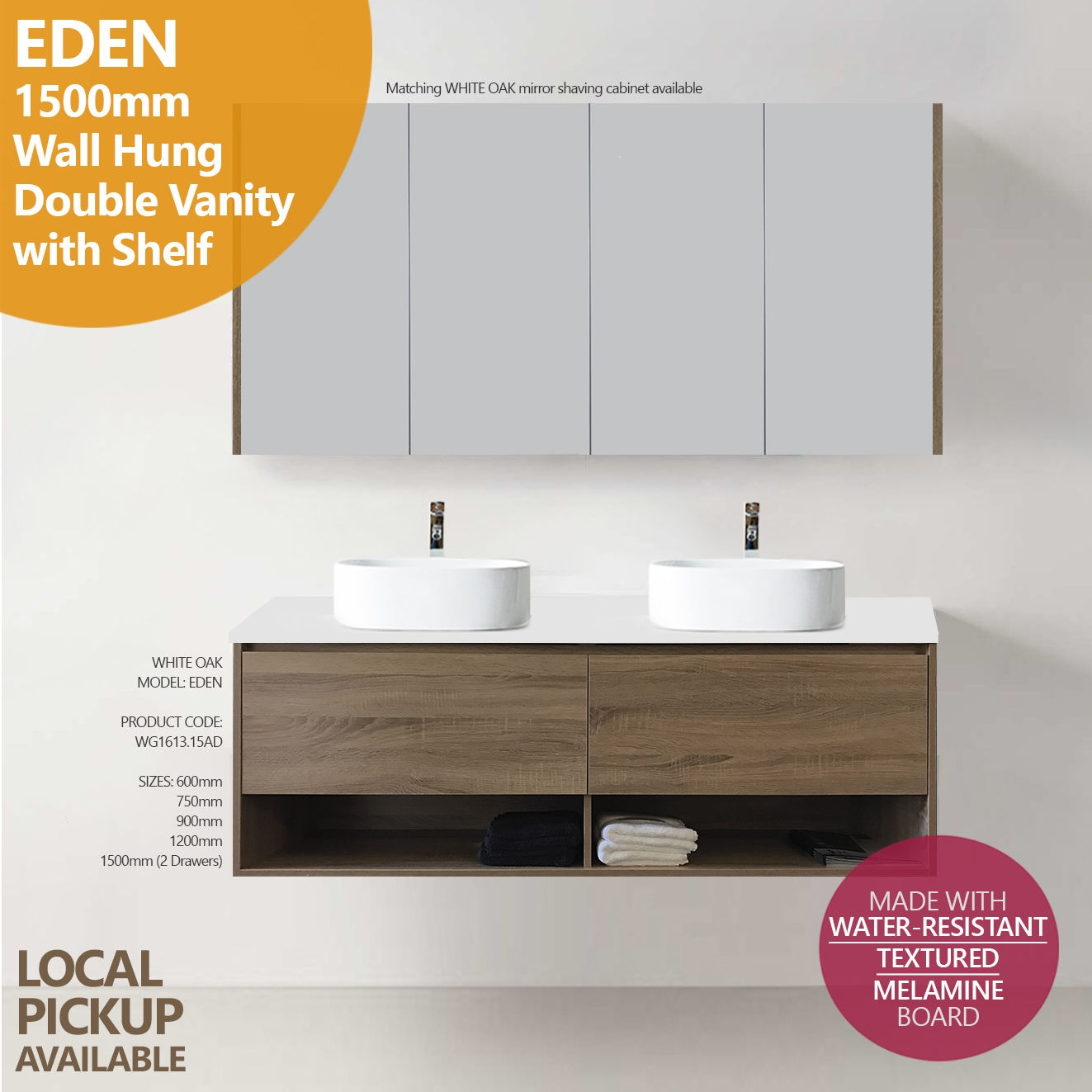 Eden 1500mm White Oak Pvc Timber Wood Grain Wall Hung Double Vanity With Stone Top Homegear Australia