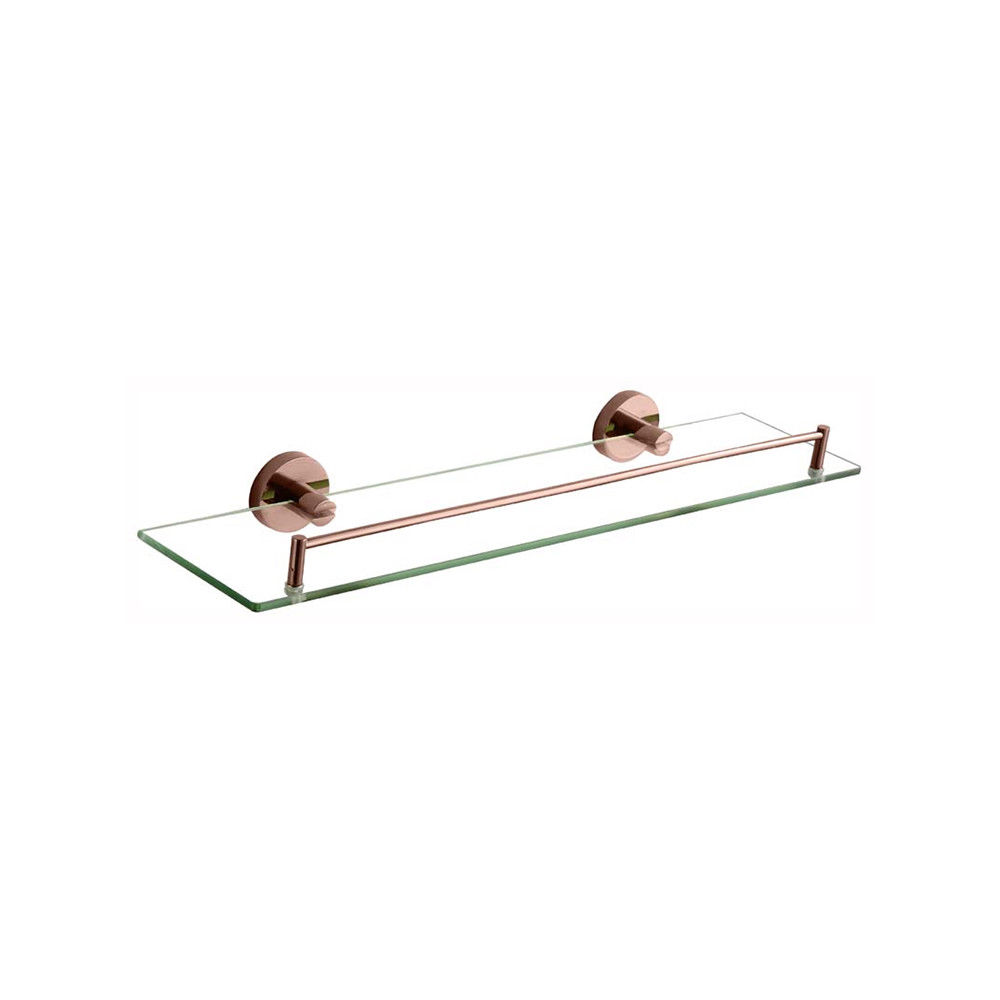 FOSCA | Round Rose Gold Wall Mounted Glass Shower Shelf / Tray | PVD ...
