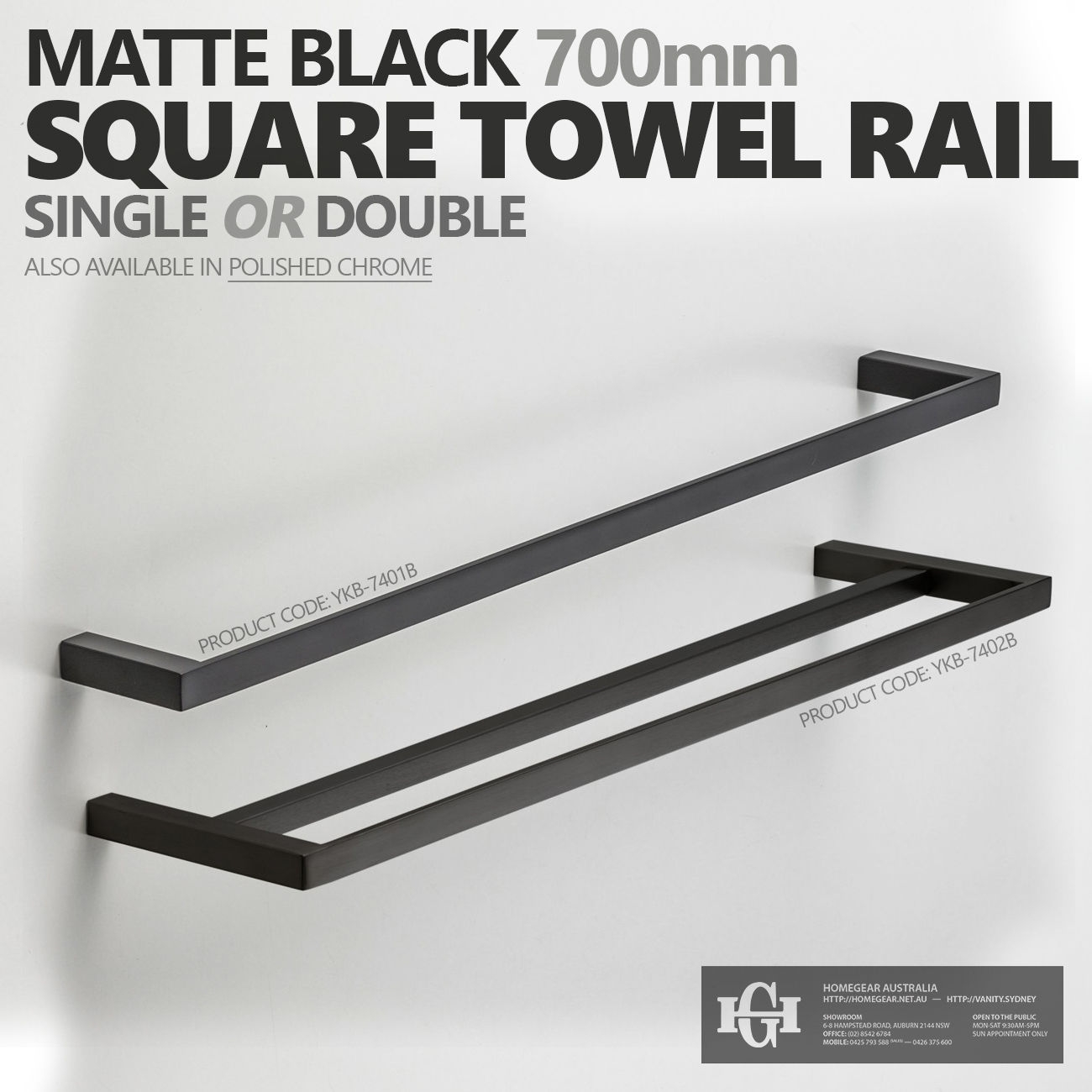 700mm Square Matte Black Bathroom Towel Rail Single Or Double