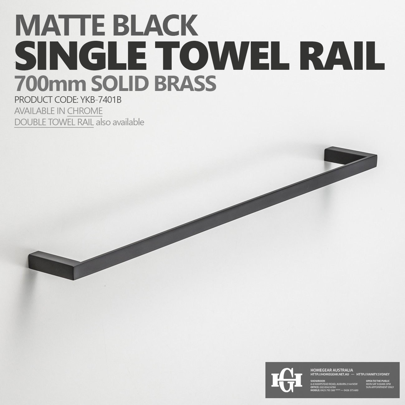 variation of modern square matte black 700mm single - Bathroom Accessories Towel Rail