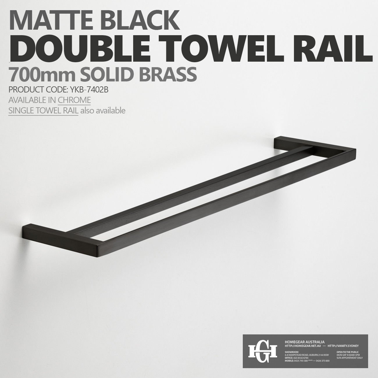 Black Bathroom Accessories Australia 700mm square matte black bathroom towel rail | single or double
