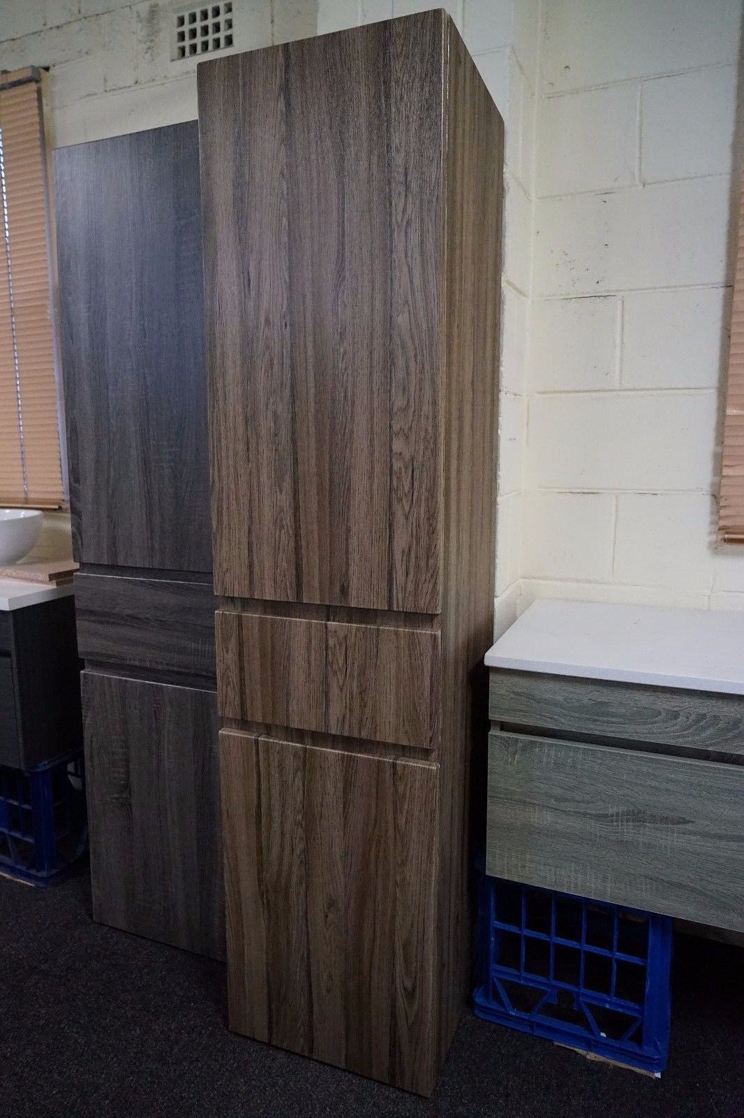 1680mm walnut oak timber wood grain bathroom tallboy side 14615