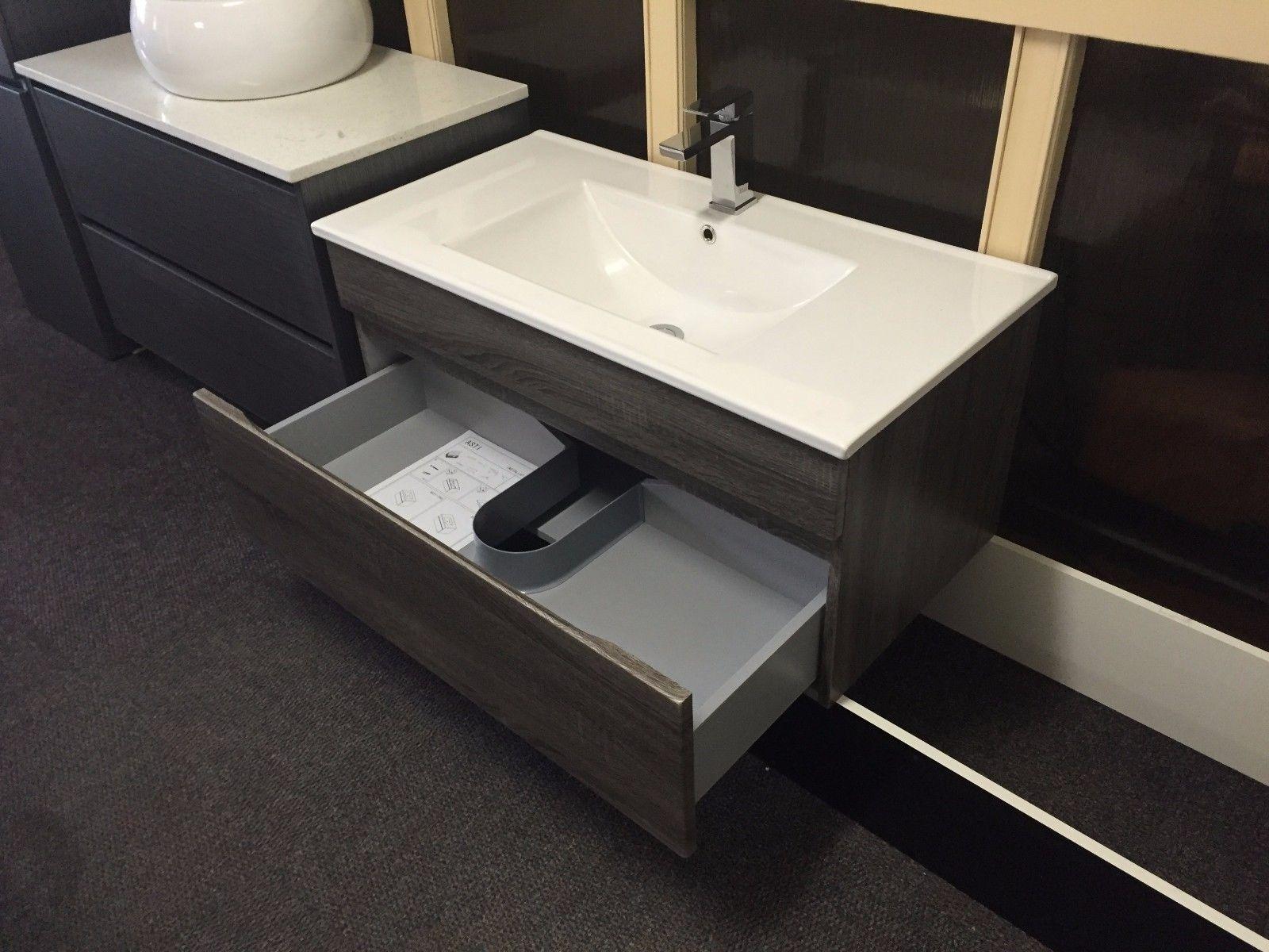 Thermofoil bathroom vanities - Asti 750mm Walnut Oak Pvc Thermofoil Wood Grain