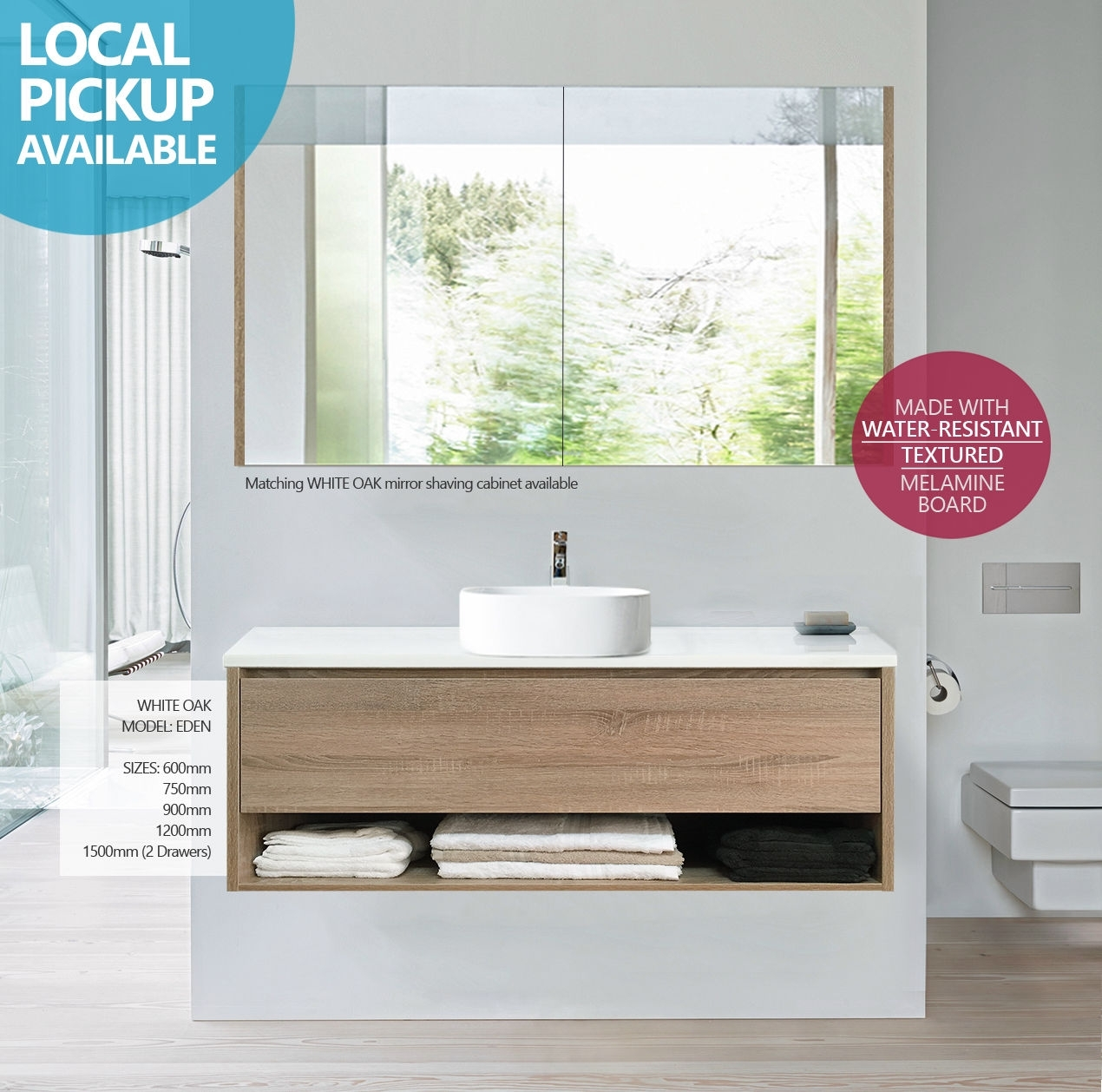 Eden 1200mm White Oak Timber Wood Grain Wall Hung Vanity With Shelf Stone Top